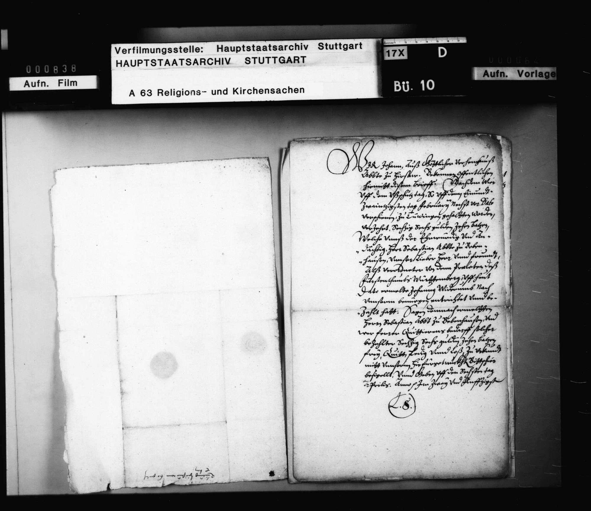 Quittungen der Äbte von Hirsau und Murrhardt über Zehrungsgelder beim Ausschusstag in Tübingen, ausbezahlt von Abt Sebastian Lutz von Bebenhausen als Verordneter der Prälaten des Fürstentums., Bild 3