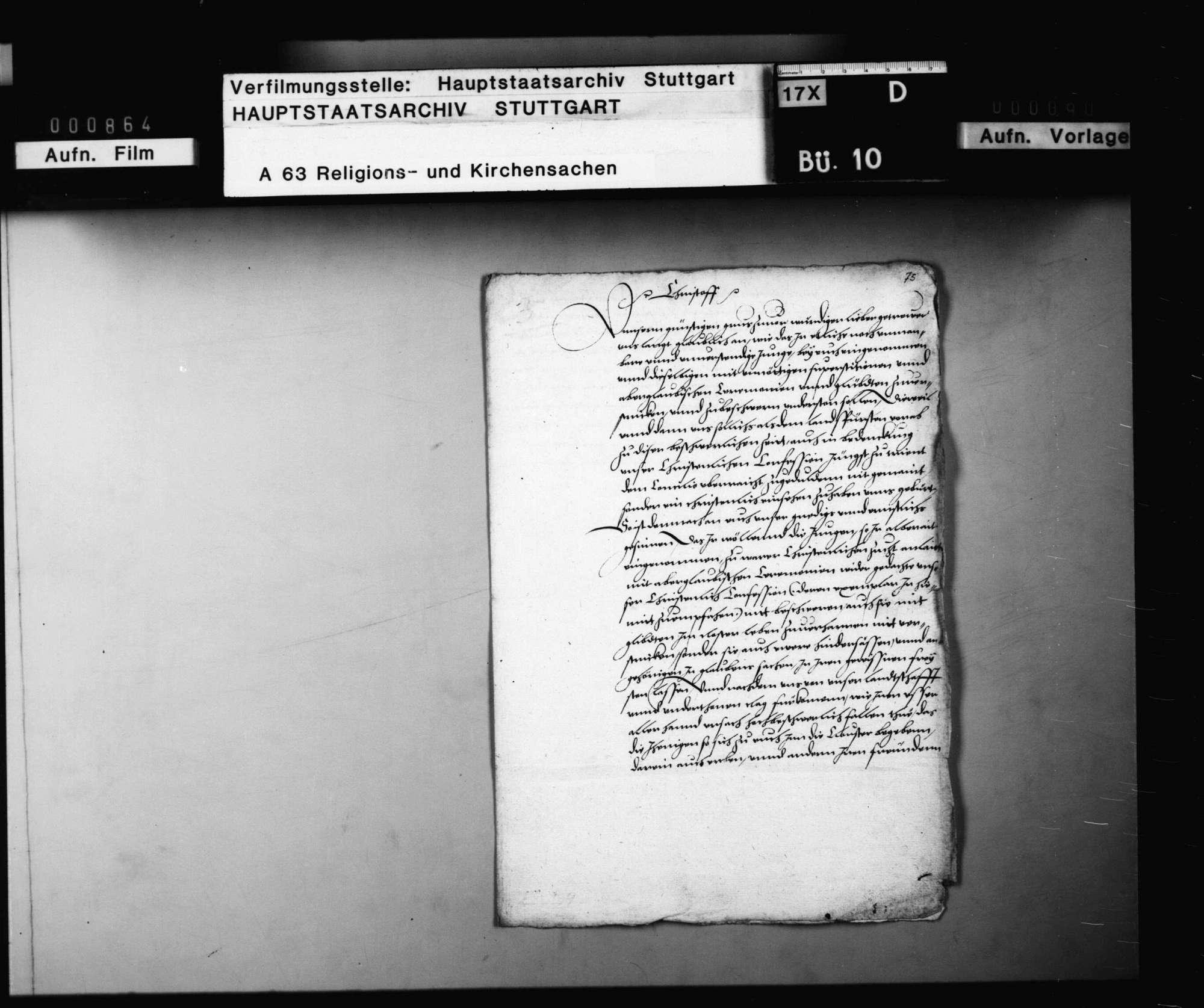 Reskript Herzog Christophs an die katholischen Klöster, keinen Aberglauben mehr zu lehren und keine Novizen mehr anzunehmen, Bild 1