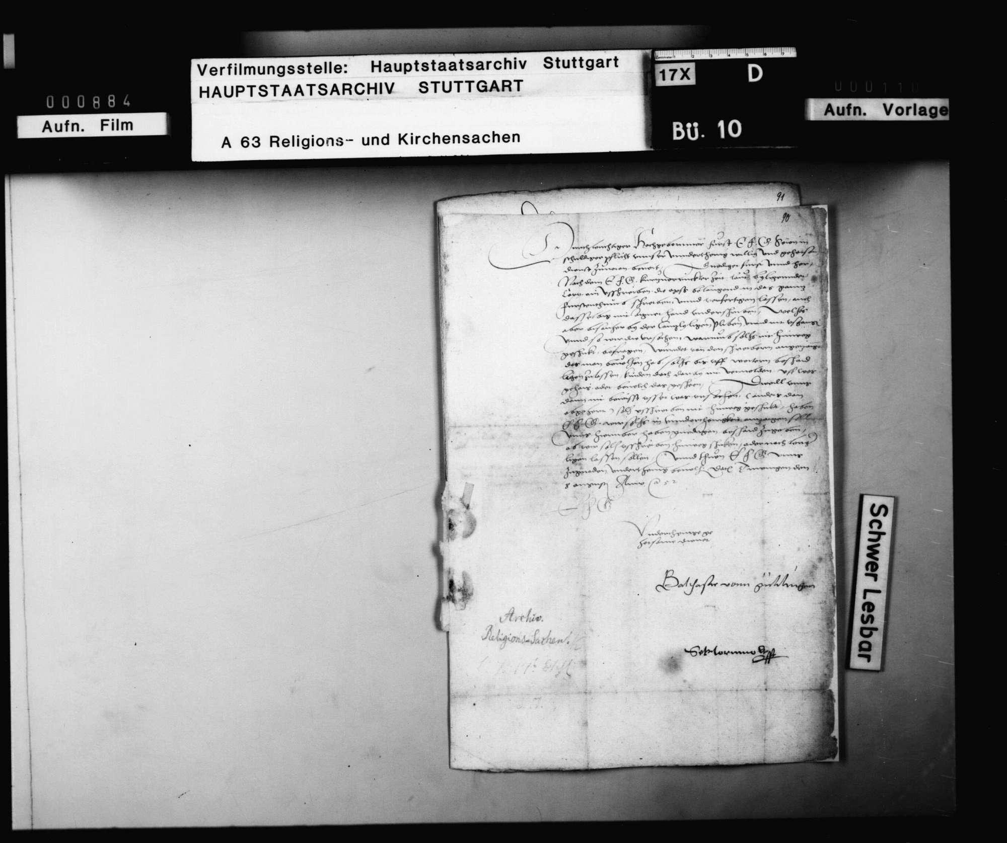 Balthasar von Gültlingen und Sebastian Hornmold fragen bei Herzog Christoph an, ob sie das schon länger unterschrieben auf der Kanzlei liegende Reskript wegen Abschaffung der Messe expedieren lassen sollen., Bild 1