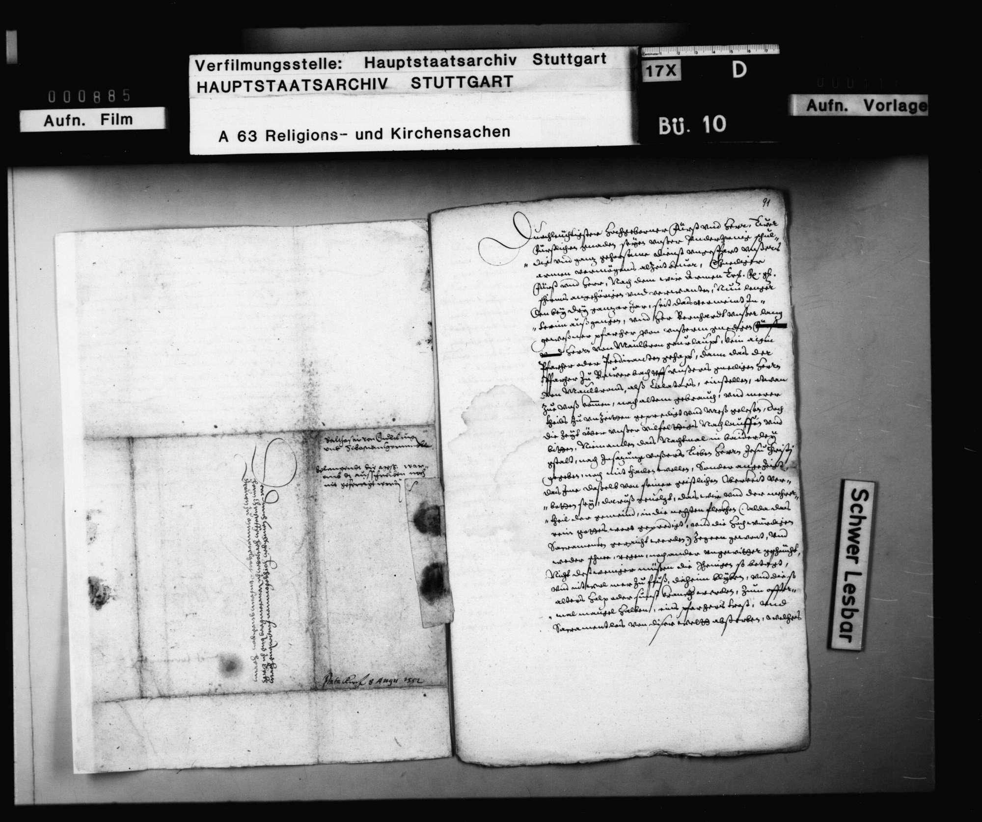 Balthasar von Gültlingen und Sebastian Hornmold fragen bei Herzog Christoph an, ob sie das schon länger unterschrieben auf der Kanzlei liegende Reskript wegen Abschaffung der Messe expedieren lassen sollen., Bild 2