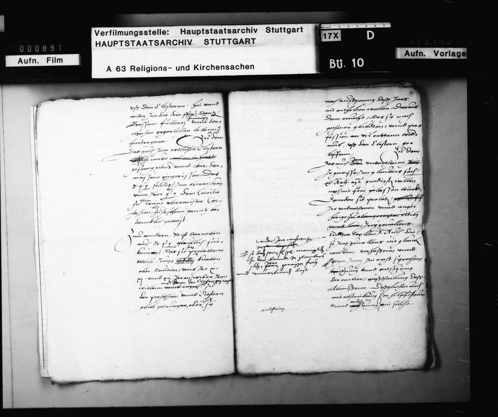Konzept eines Berichts Herzog Christophs an Kaiser Karl V. über die Verwilderung von Mönchen und Klöstern in Württemberg., Bild 3