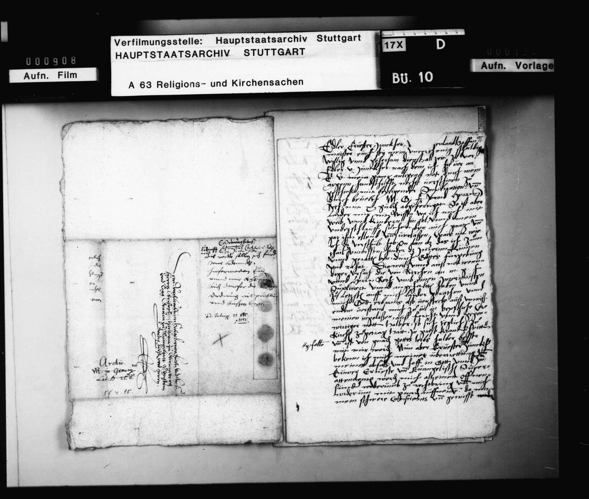 Supplikation des während des Interims papistisch gewordenen Johann Straub um Wiederanstellung, nebst Befürwortung durch Matthäus Alber und Hippolitus Resch., Bild 1