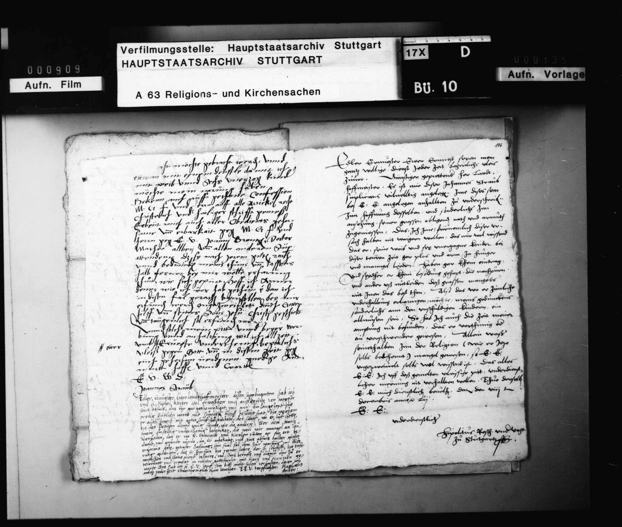 Supplikation des während des Interims papistisch gewordenen Johann Straub um Wiederanstellung, nebst Befürwortung durch Matthäus Alber und Hippolitus Resch., Bild 2