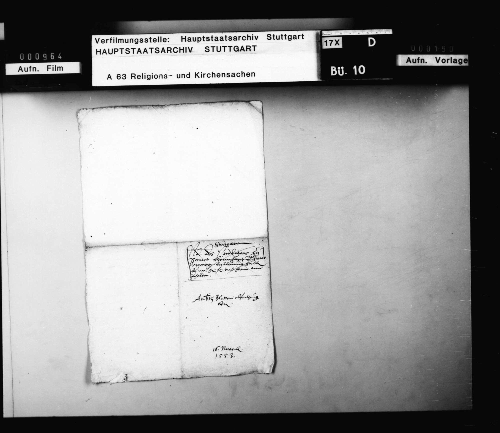 """Restbesoldung des aus württembergischen Diensten ausscheidenden Ambrosius Blarer, weiland Konventuals zu Alpirsbach, """"nachfarigen"""" Generalsuperintendenten neben Erhard Schnepf., Bild 2"""