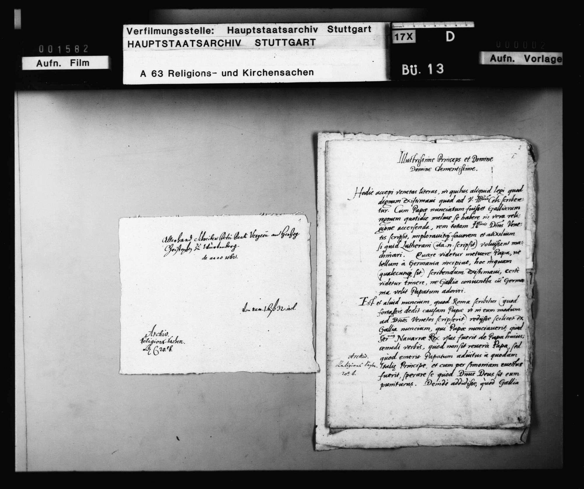 Schreiben des Petri Pauli Vergerius an Herzog Christoph zu Württemberg., Bild 3