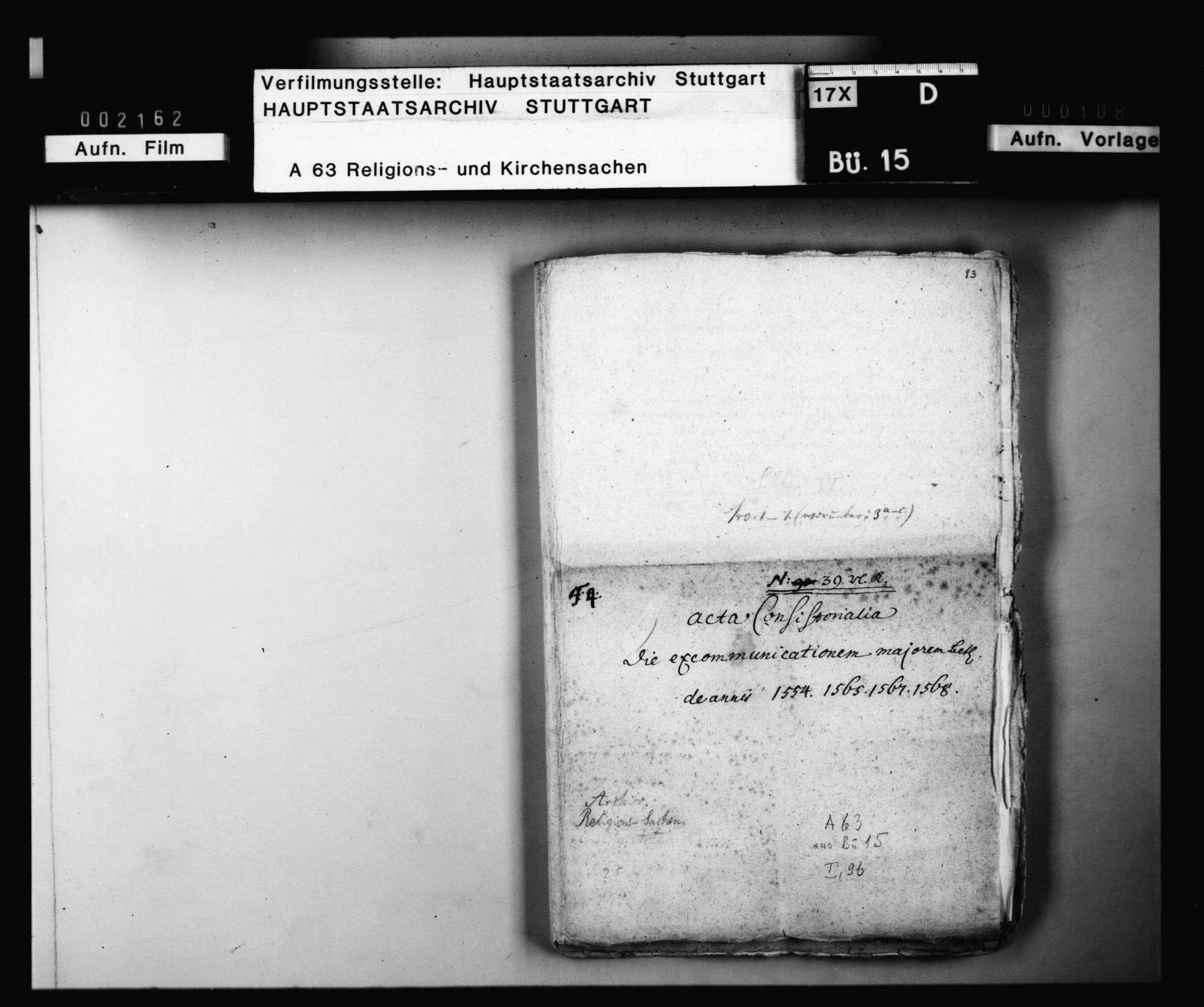 Schriften, die excommunicatio major betreffend, besonders die bezüglichen Verhandlungen mit Jakob Andreä., Bild 1