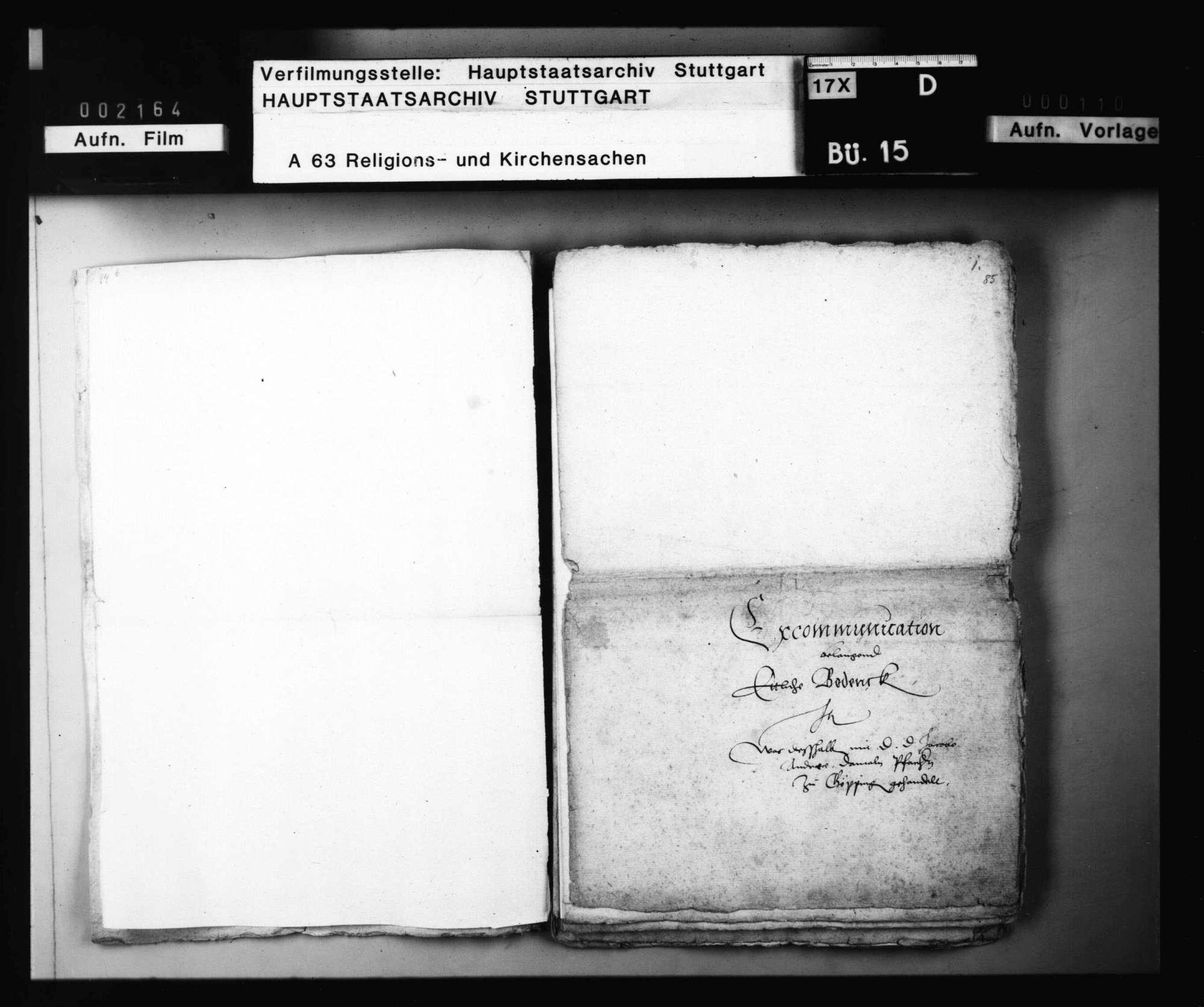 Schriften, die excommunicatio major betreffend, besonders die bezüglichen Verhandlungen mit Jakob Andreä., Bild 3
