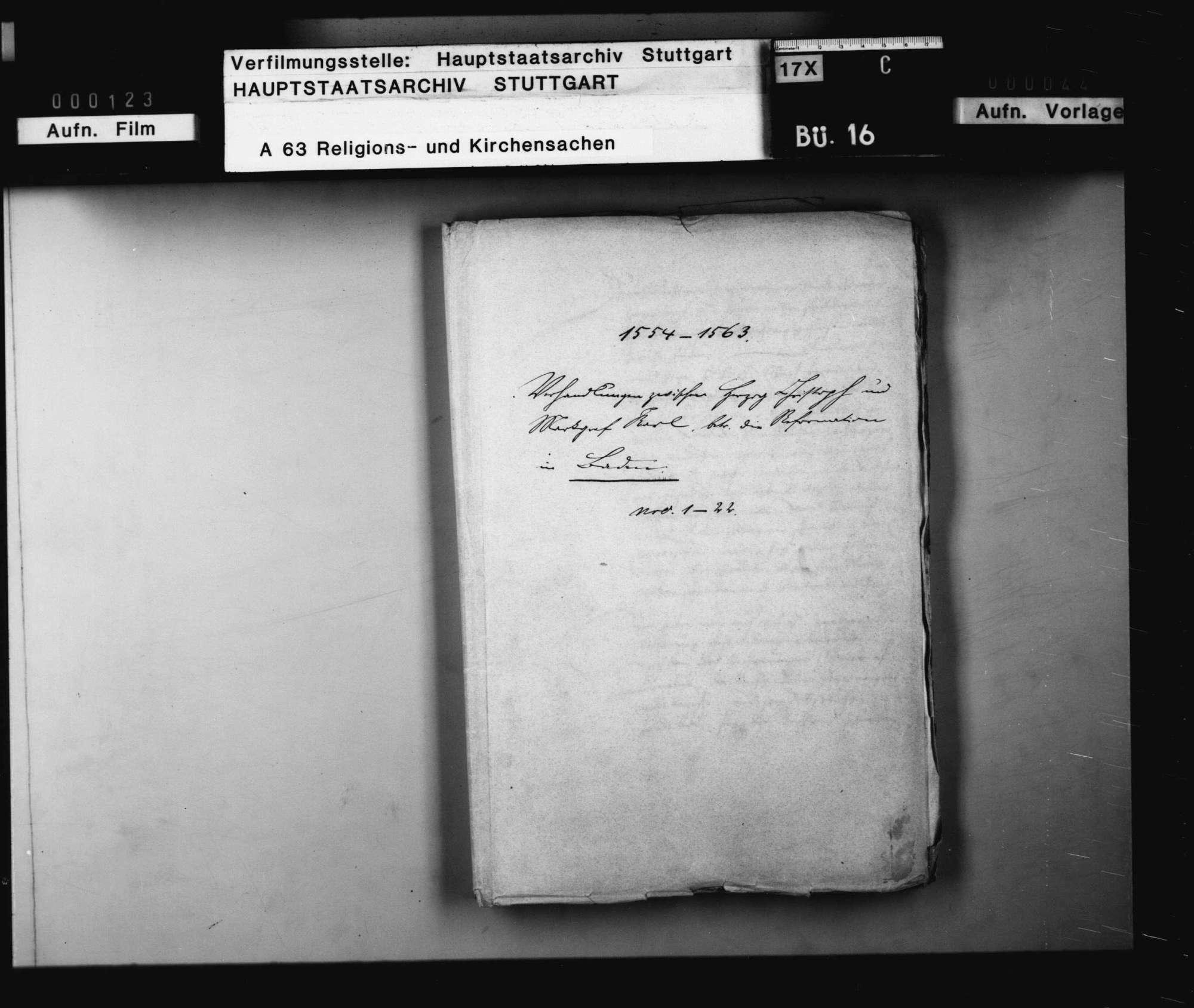 Verhandlungen zwischen Herzog Christoph und Markgraf Karl, betreffend die Reformation in Baden., Bild 1