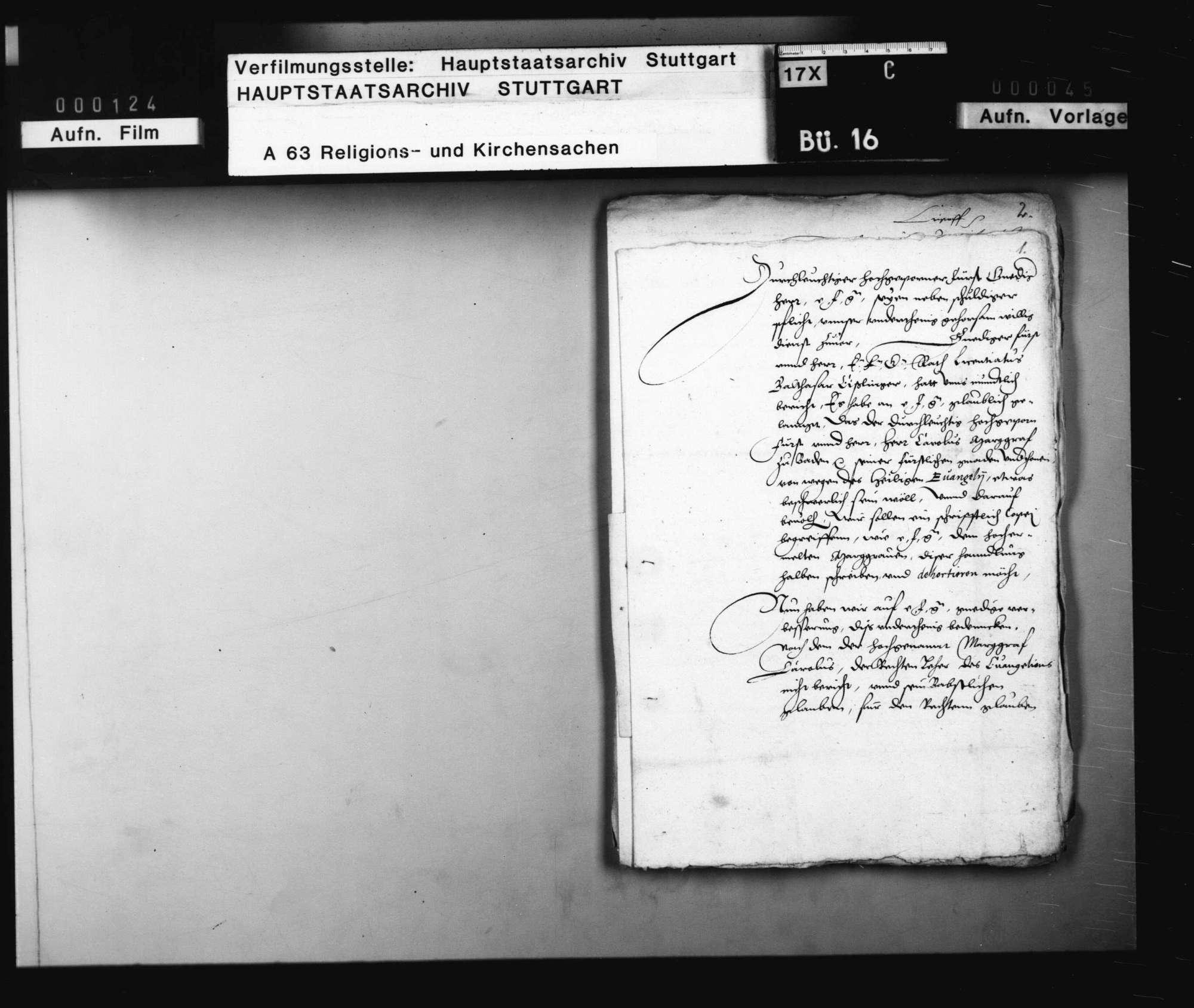 Verhandlungen zwischen Herzog Christoph und Markgraf Karl, betreffend die Reformation in Baden., Bild 2