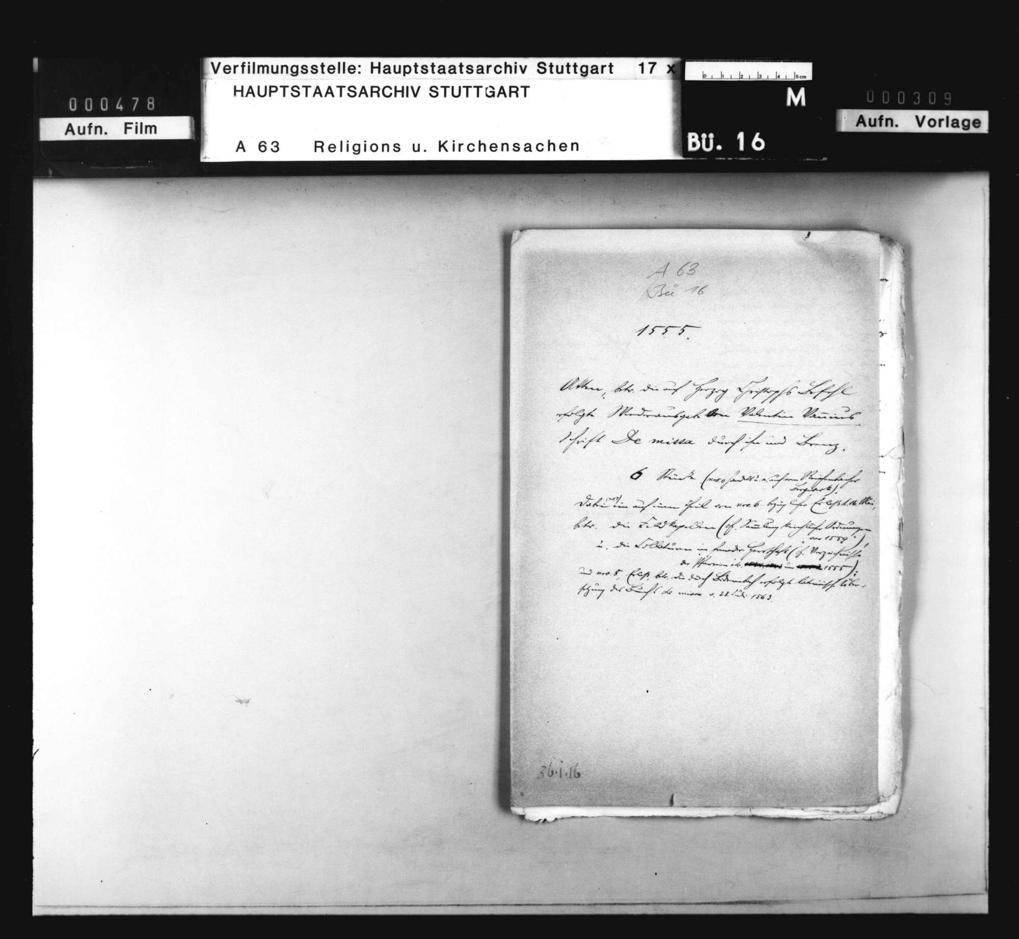 """Akten, betreffend die auf Herzog Christophs Befehl erfolgte Wiederausgabe von Valentin Vannius Schrift """"De missa"""" durch Vannius und Brenz., Bild 1"""
