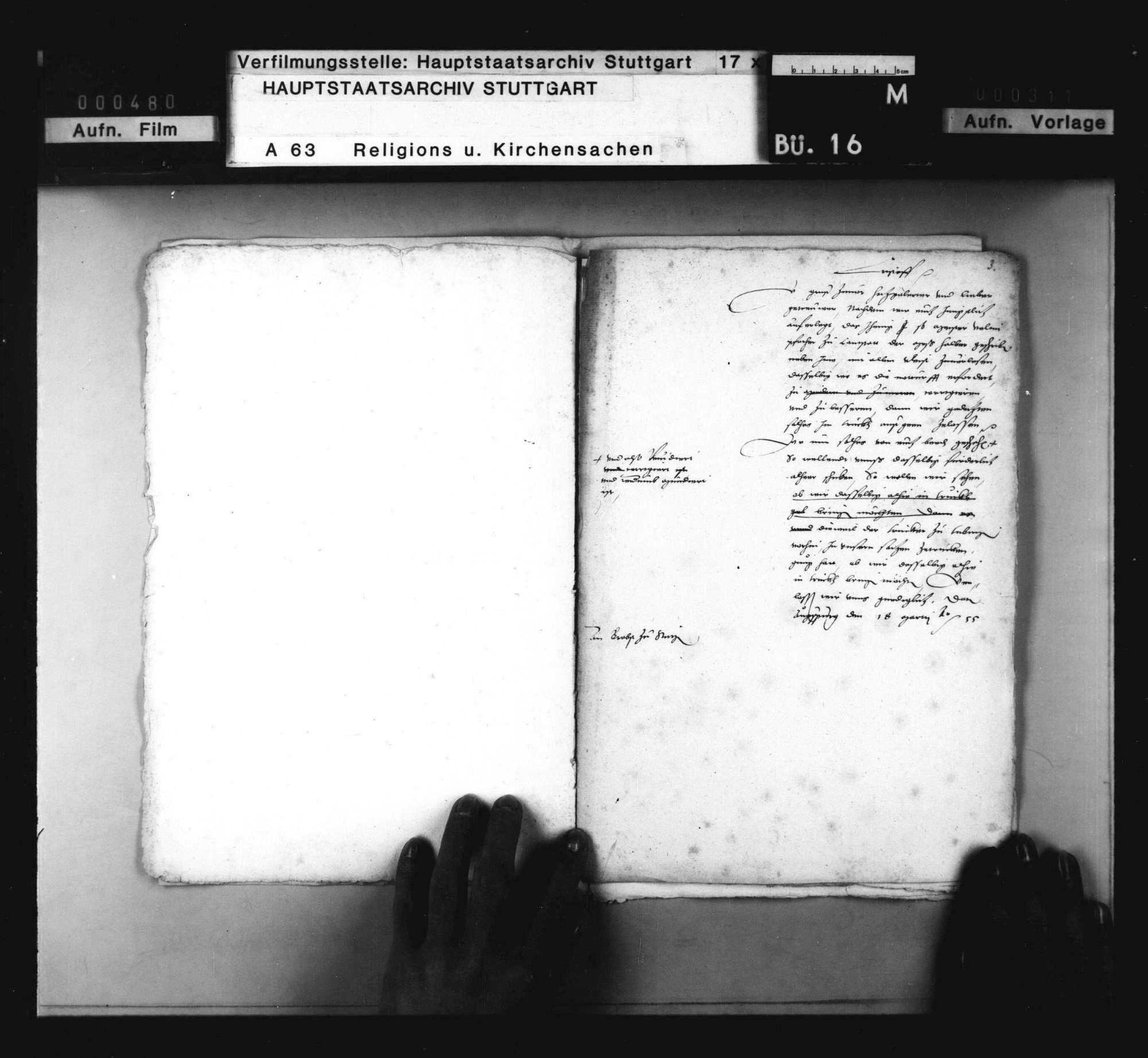 """Akten, betreffend die auf Herzog Christophs Befehl erfolgte Wiederausgabe von Valentin Vannius Schrift """"De missa"""" durch Vannius und Brenz., Bild 3"""