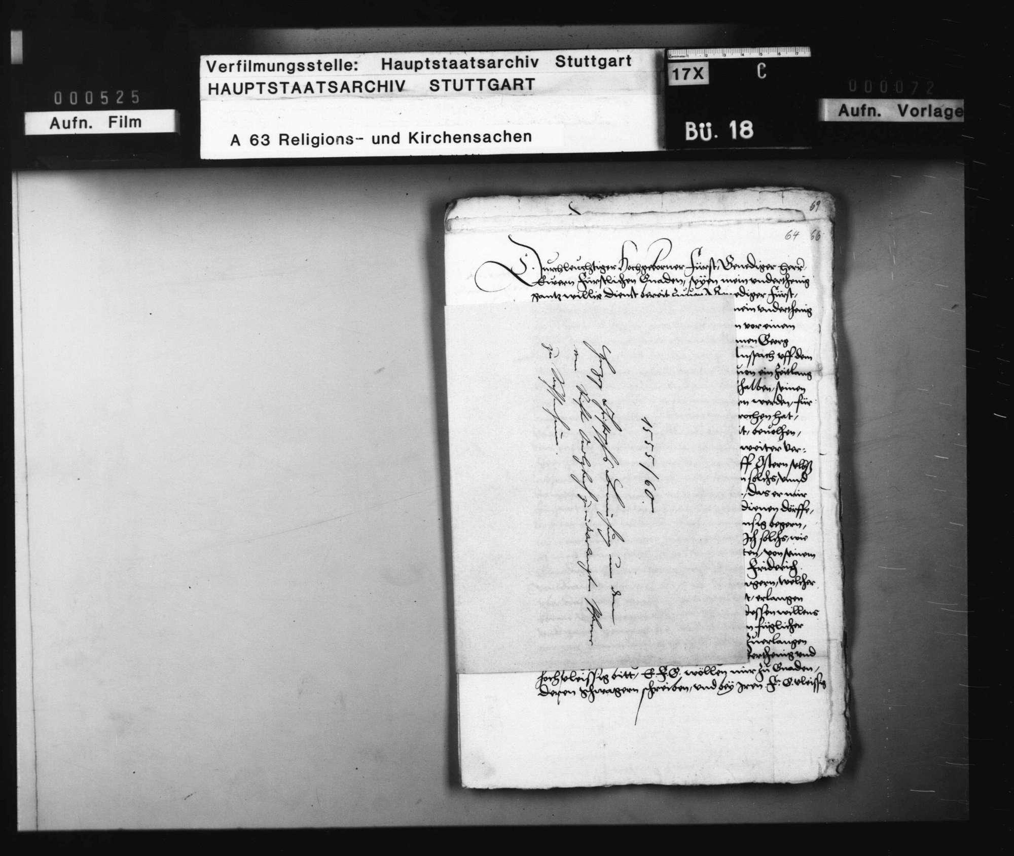Herzog Christophs Bemühung um den vom Stift Ansbach zurückverlangten Pfarrer zu Sachsenheim., Bild 1
