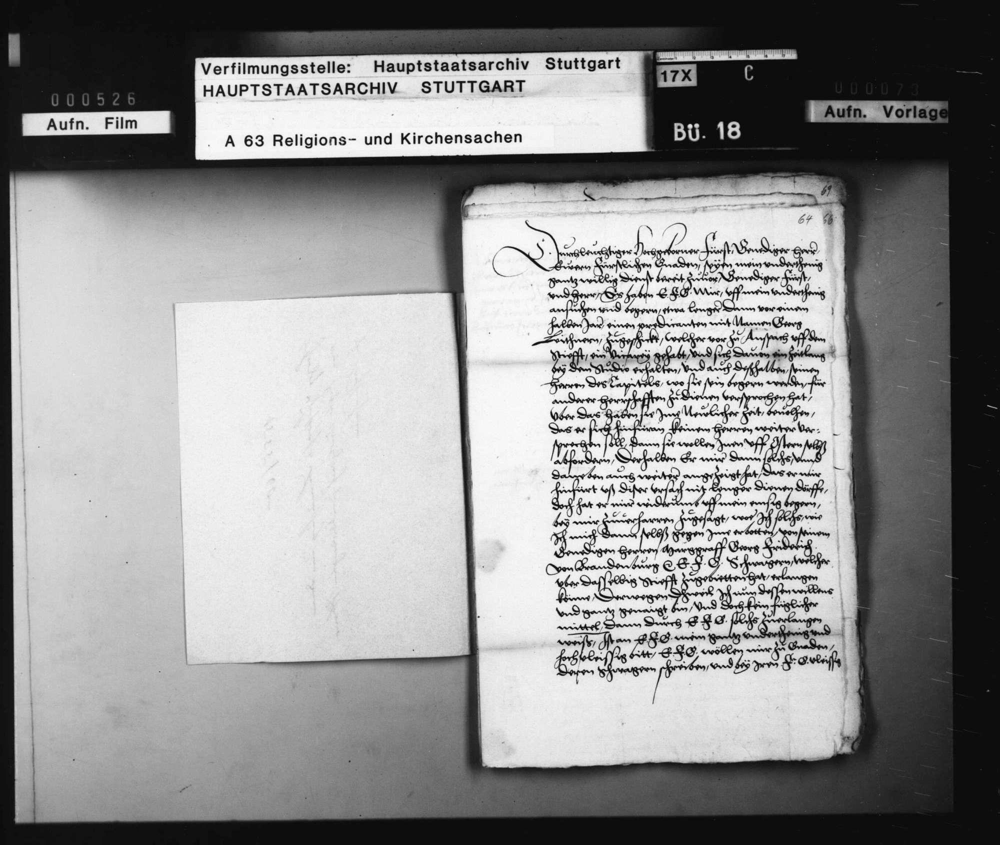 Herzog Christophs Bemühung um den vom Stift Ansbach zurückverlangten Pfarrer zu Sachsenheim., Bild 2