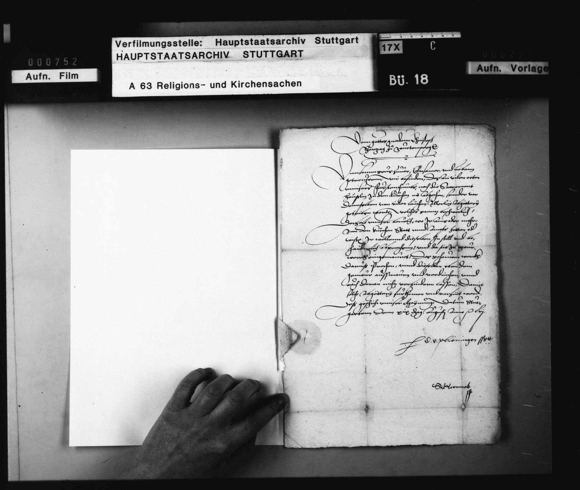 Dekret an Pfarrer und Vogt zu Brackenheim, Sakramenthäuslein betreffend., Bild 1