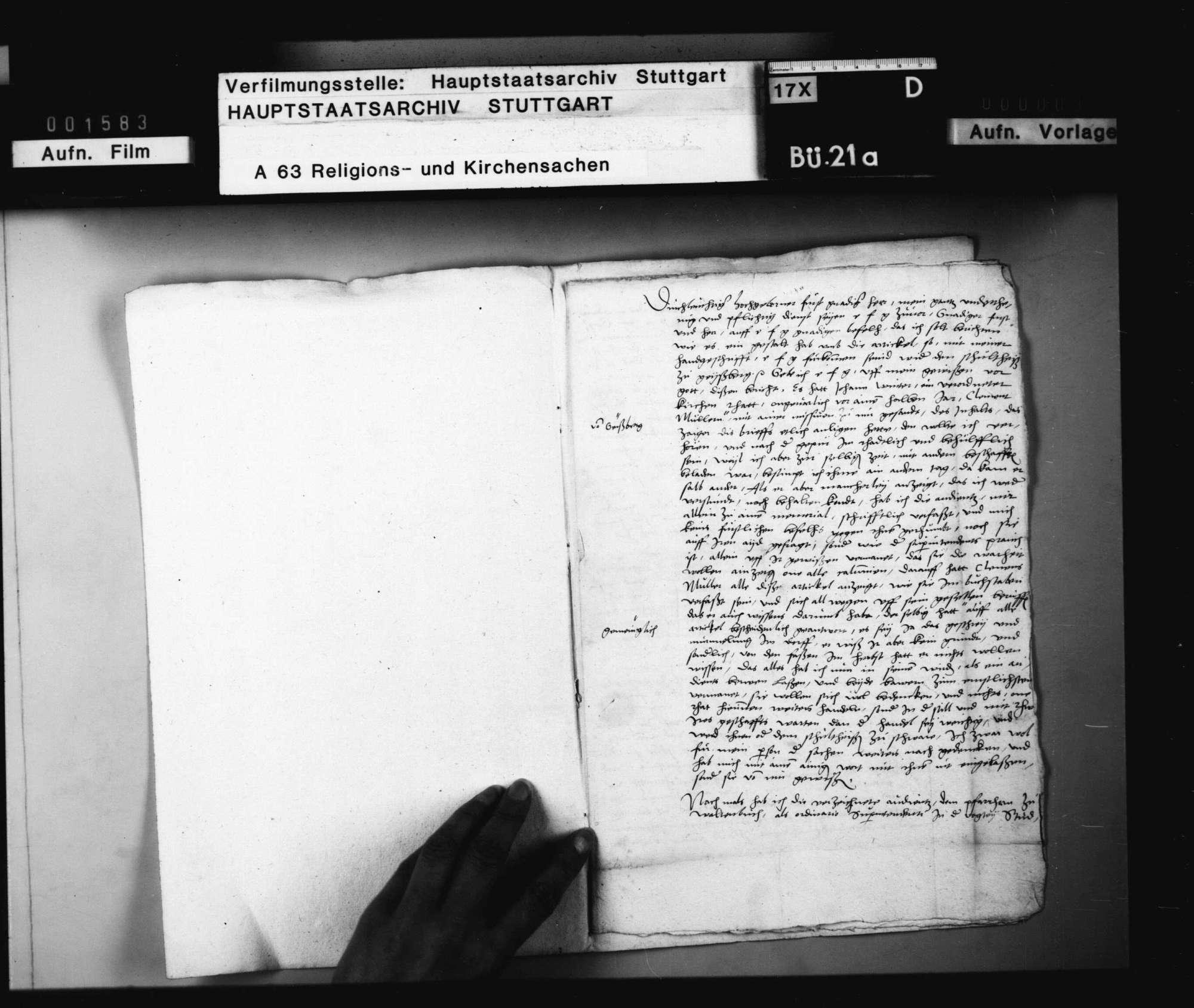 Bericht des Valentin Vannius, Pfarrers in Cannstatt, betreffend Superintendenz und Visitationssache (betreffend Gaisburg)., Bild 2