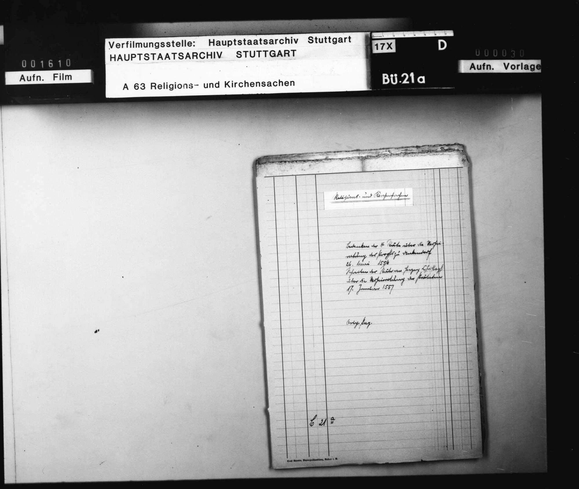 Bedenken der 4 Räte über die Verheiratung des Propsts zu Denkendorf. 26. Mai 1556. Schreiben der Räte an Herzog Christoph über die Verheiratung der Prälaten. 17. Januar 1557. Original, 5 Siegel, Bild 1
