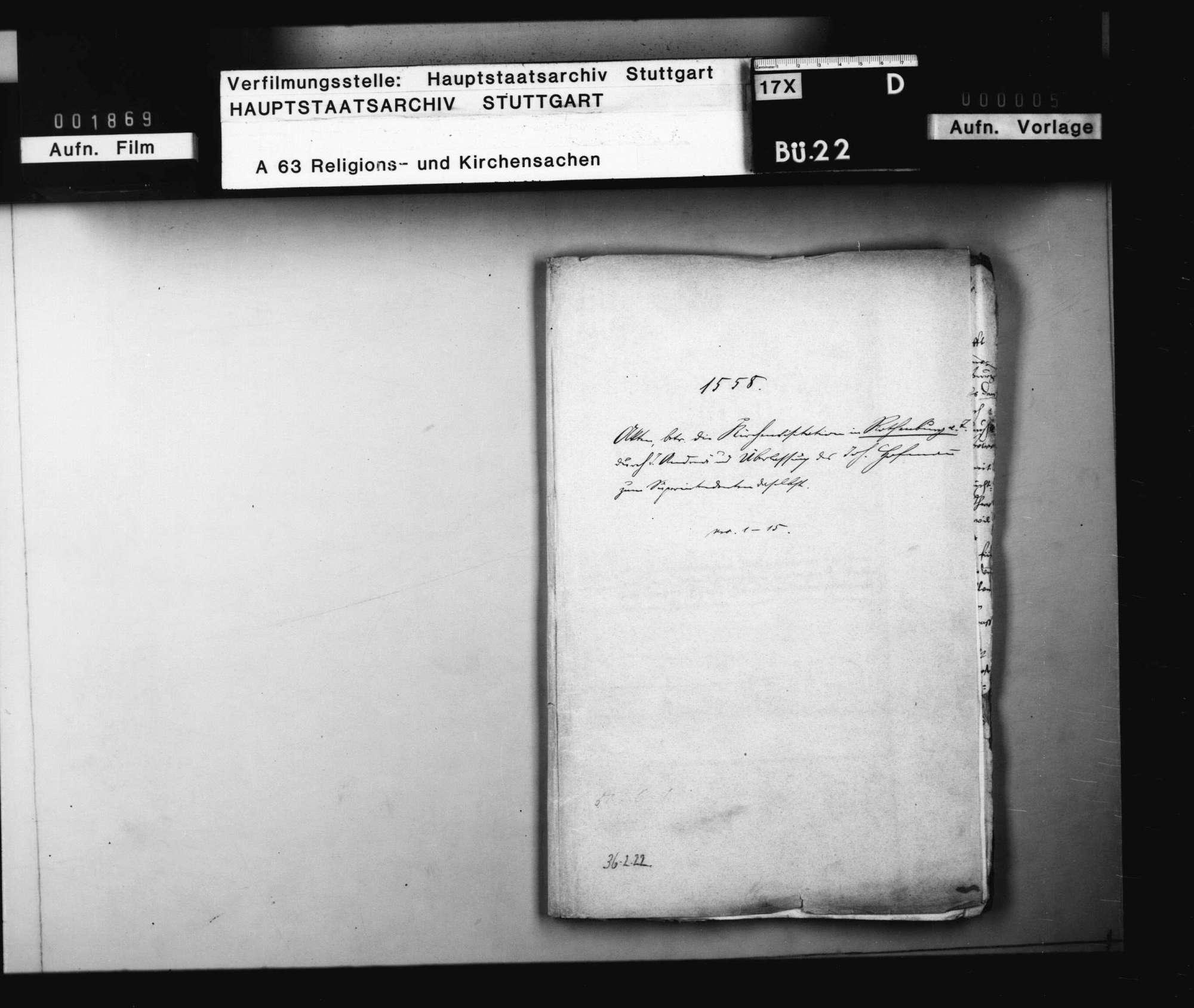 Akten, betreffend die Kirchenvisitation in Rothenburg o. T. durch J. Andreä und Überlassung des Joh. Hofmann zum Superintenden daselbst., Bild 1