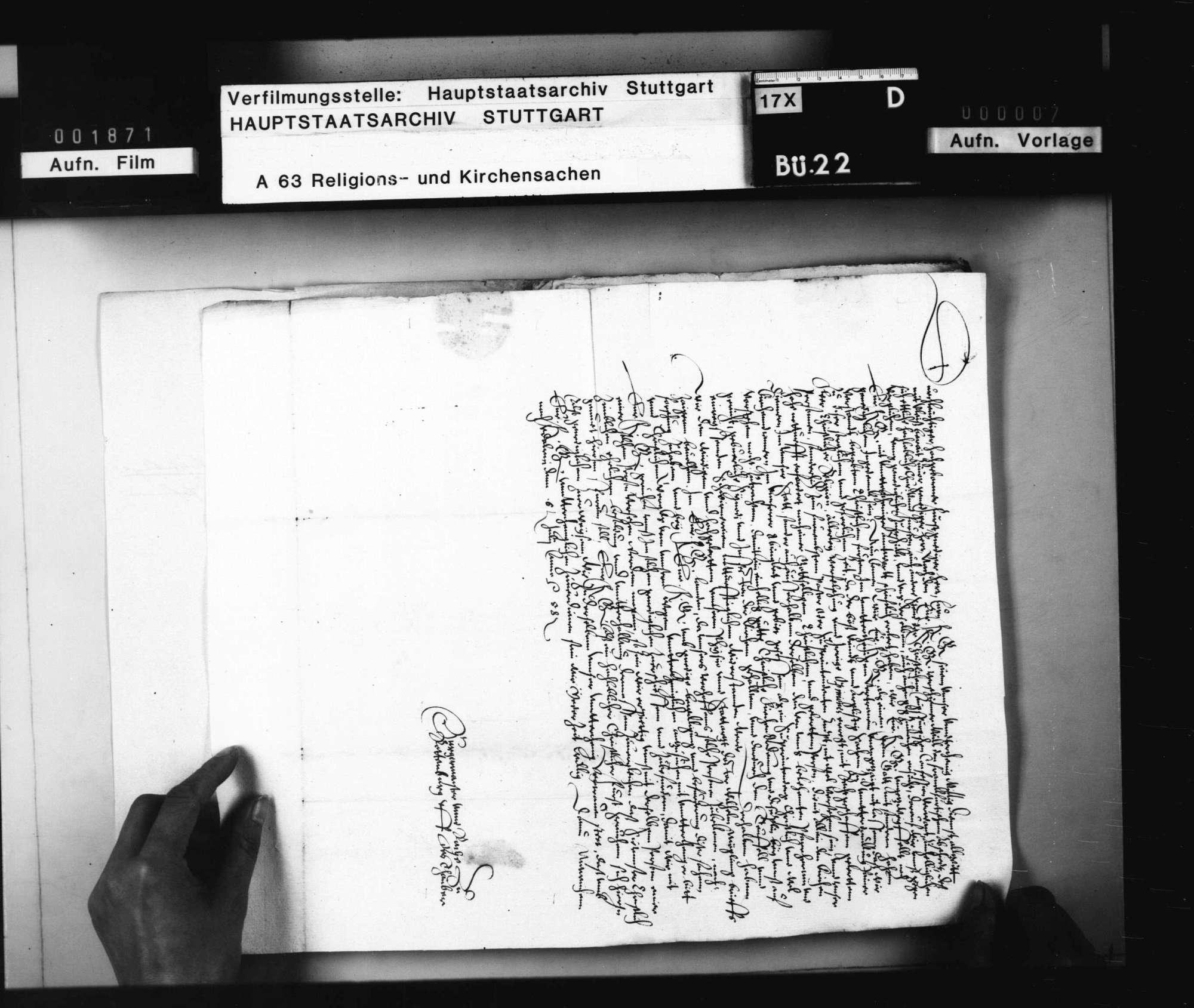 Akten, betreffend die Kirchenvisitation in Rothenburg o. T. durch J. Andreä und Überlassung des Joh. Hofmann zum Superintenden daselbst., Bild 3