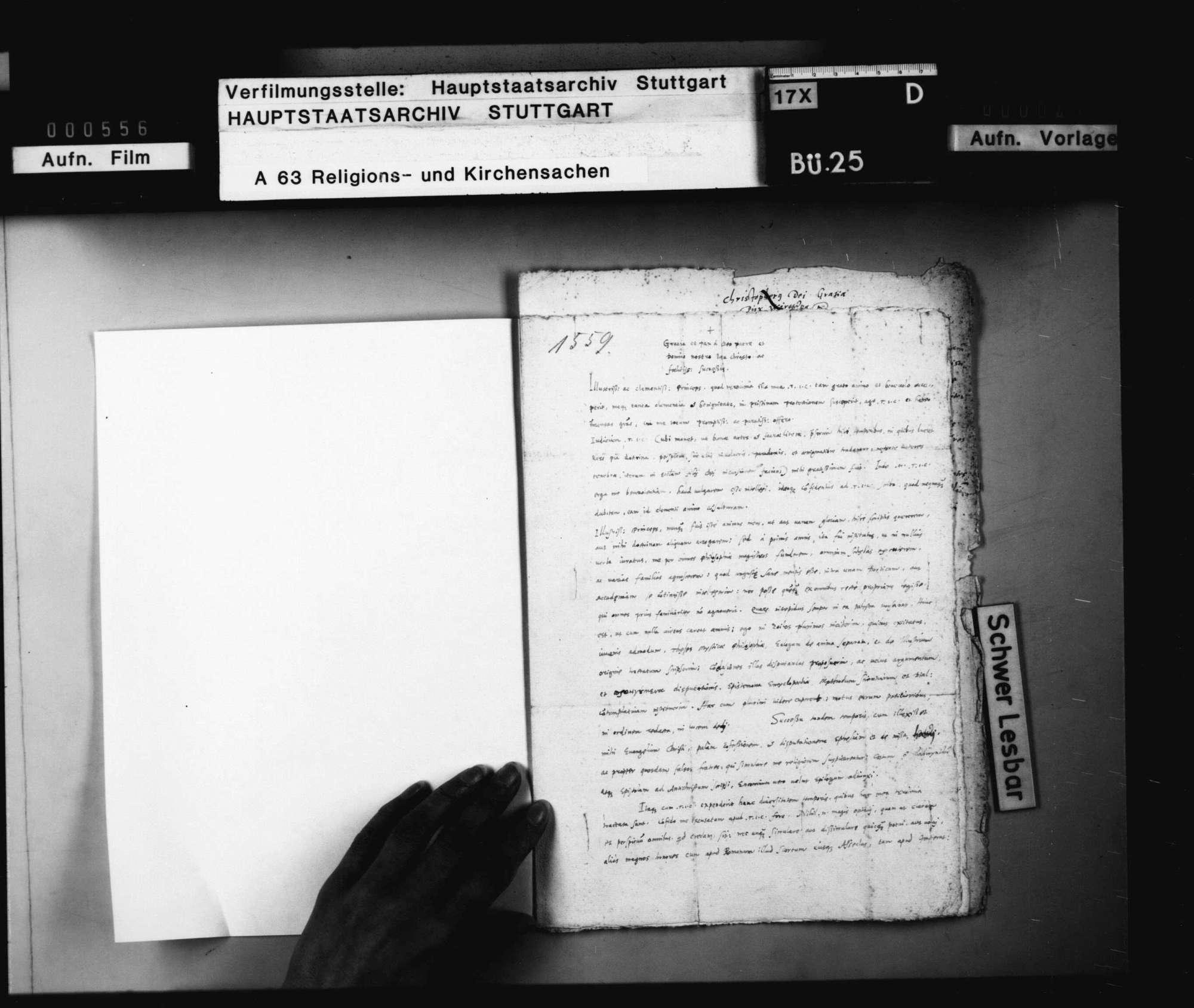 """""""Johannis Scalichii Schreiben an Herzog Christoph wegen einiger Traktate, so er zu Tübingen wider das Papsttum ausgehen lassen"""", 27. Februar 1559., Bild 2"""