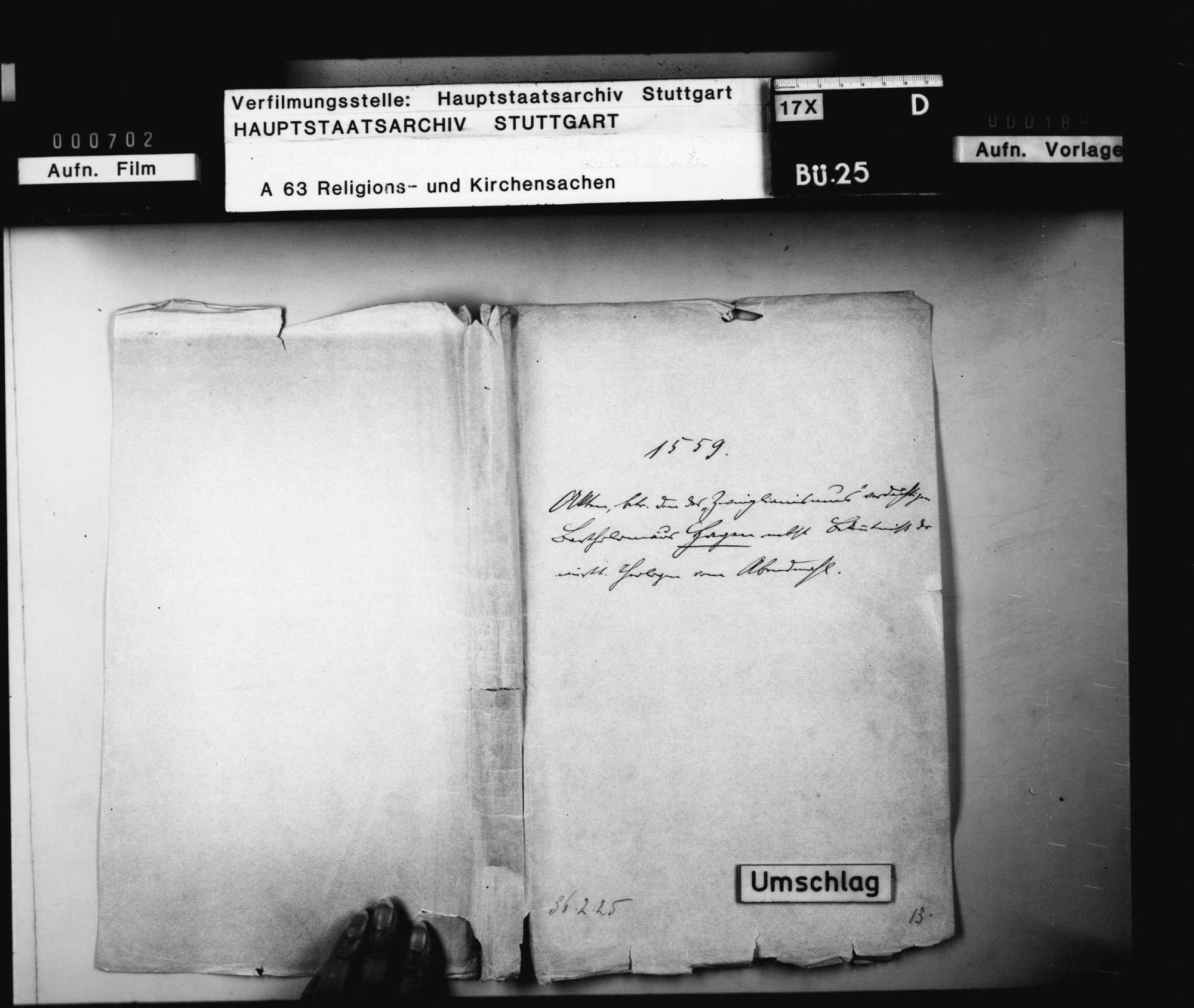 "Akten, betreffend den des ""Zwinglianismus"" verdächtigen Pfarrer Bartholomäus Hagen in Dettingen., Bild 1"