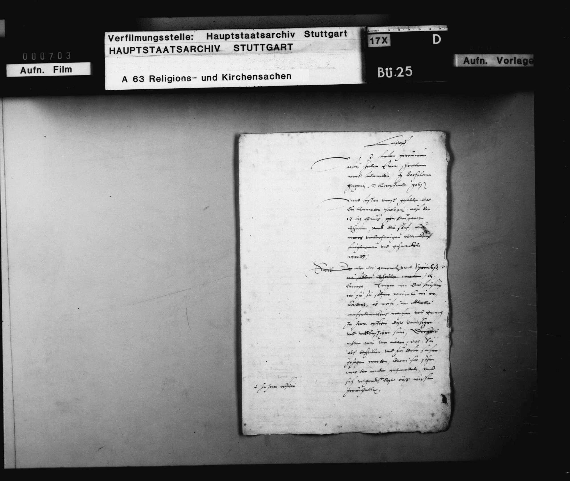 "Akten, betreffend den des ""Zwinglianismus"" verdächtigen Pfarrer Bartholomäus Hagen in Dettingen., Bild 2"