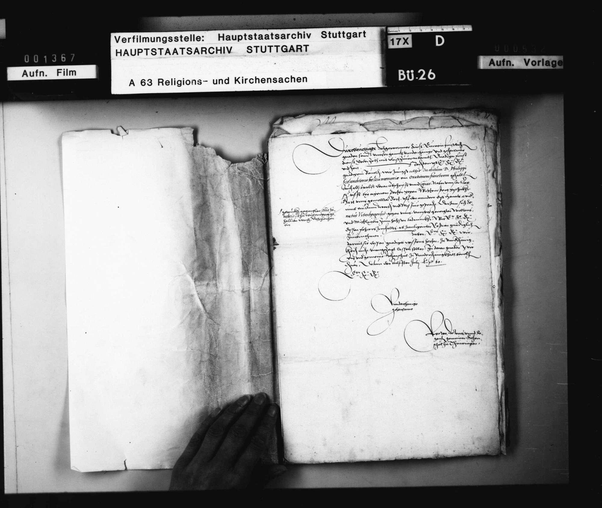 Die Übersendung der zu Tübingen auf Melanchthon gehaltenen oratio funebris nach Wittenberg., Bild 2
