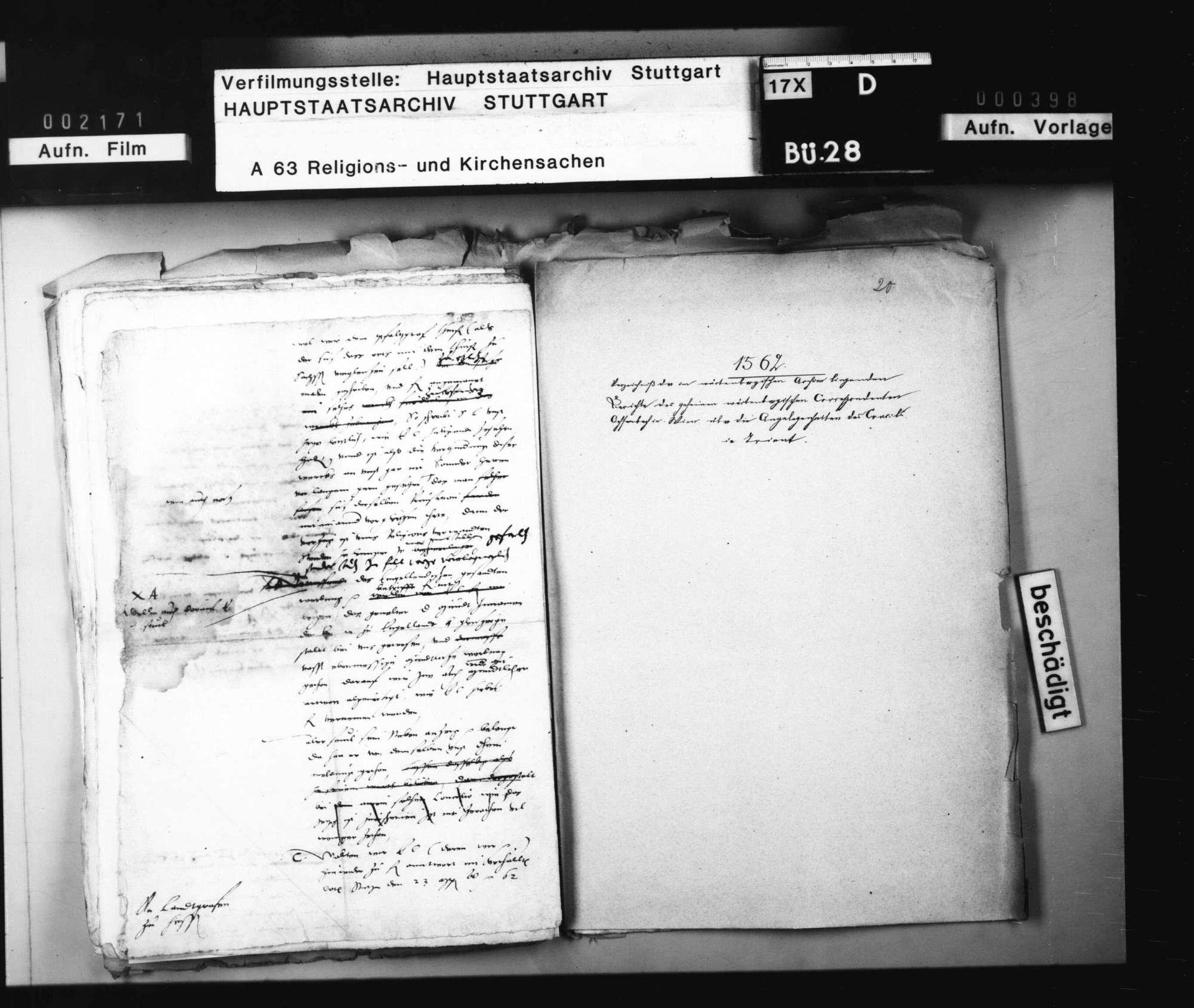 Aktenverzeichnis zu den Berichten des geheimen württembergischen Korrespondenten in Wien, Ochsenbach., Bild 1