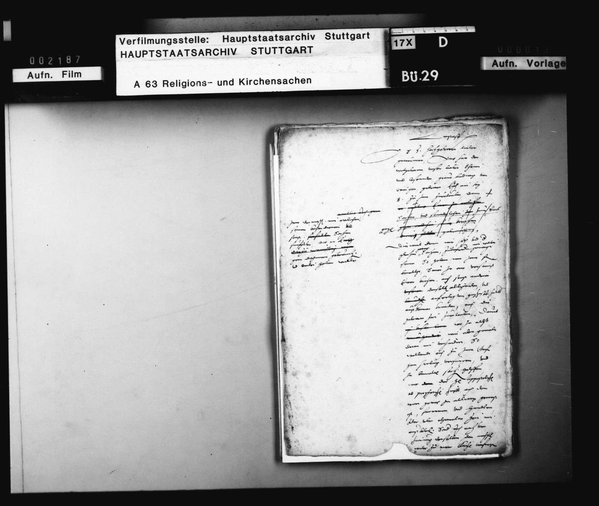 Schreiben Herzog Christophs an J. Andreä, betreffend dessen Mitwirkung bei der vom Grafen Ludwig von Öttingen beabsichtigten Reformation., Bild 1