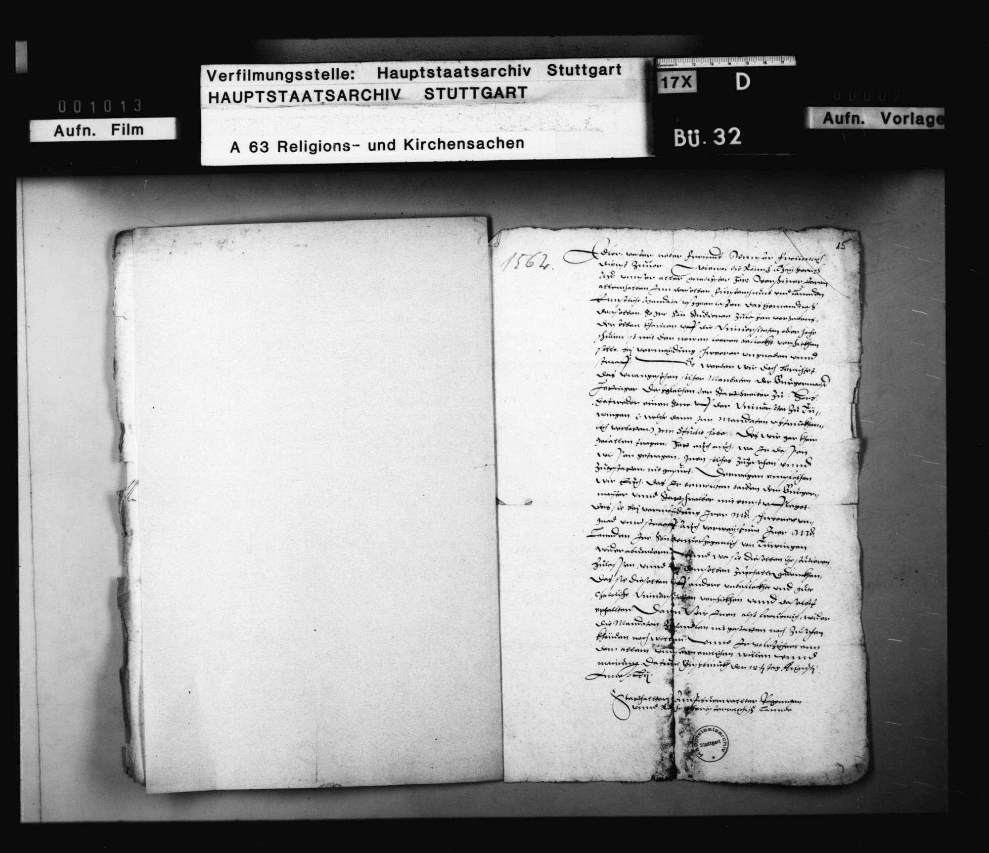 Befehl der österreichischen Regierung zu Innsbruck an den Vogt zu Horb, daß kein Untertan an evangelischen Universitäten studieren solle., Bild 1