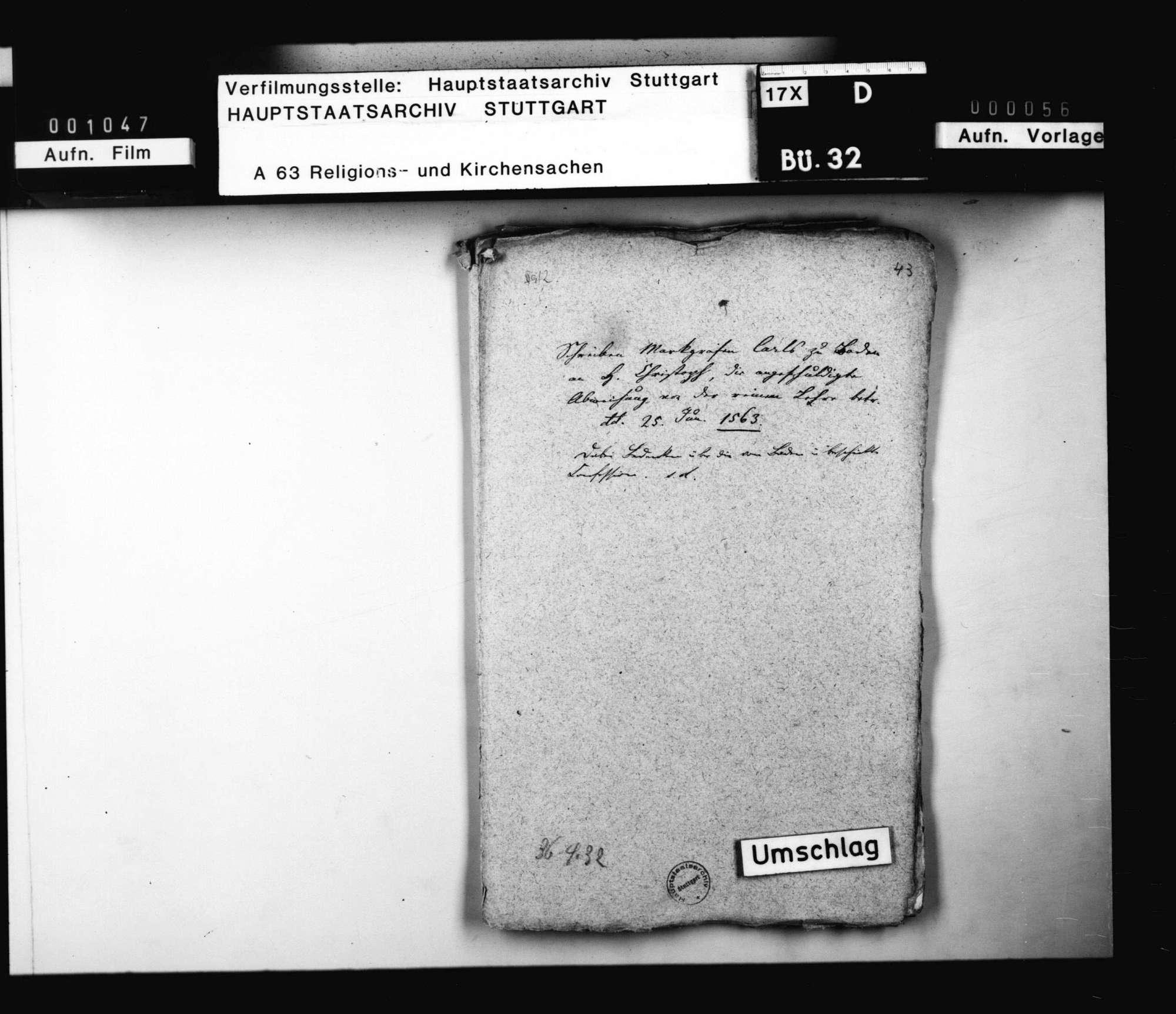 Schreiben des Markgraf Karl von Baden an Herzog Christoph, die angeschuldigte Abweichung von der reinen Lehre betreffend., Bild 1