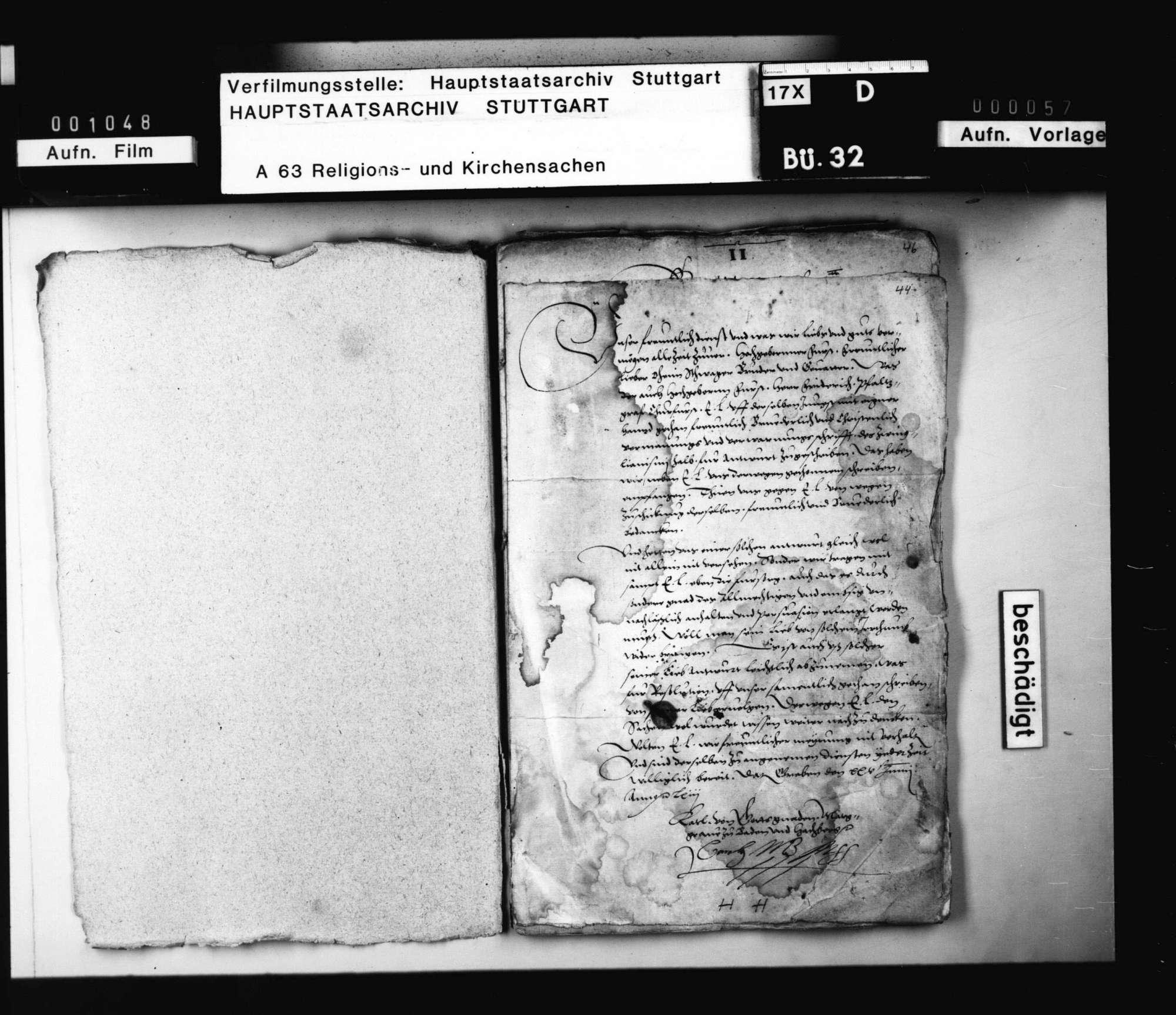Schreiben des Markgraf Karl von Baden an Herzog Christoph, die angeschuldigte Abweichung von der reinen Lehre betreffend., Bild 2