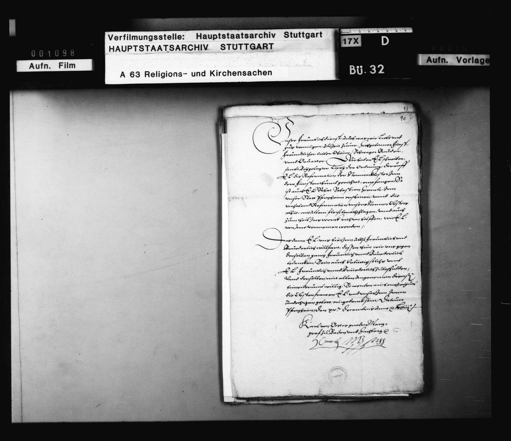 Schreiben des Markgrafen von Baden an Herzog Christoph, betreffend die Reformation des Nonnenklosters in Pforzheim., Bild 1