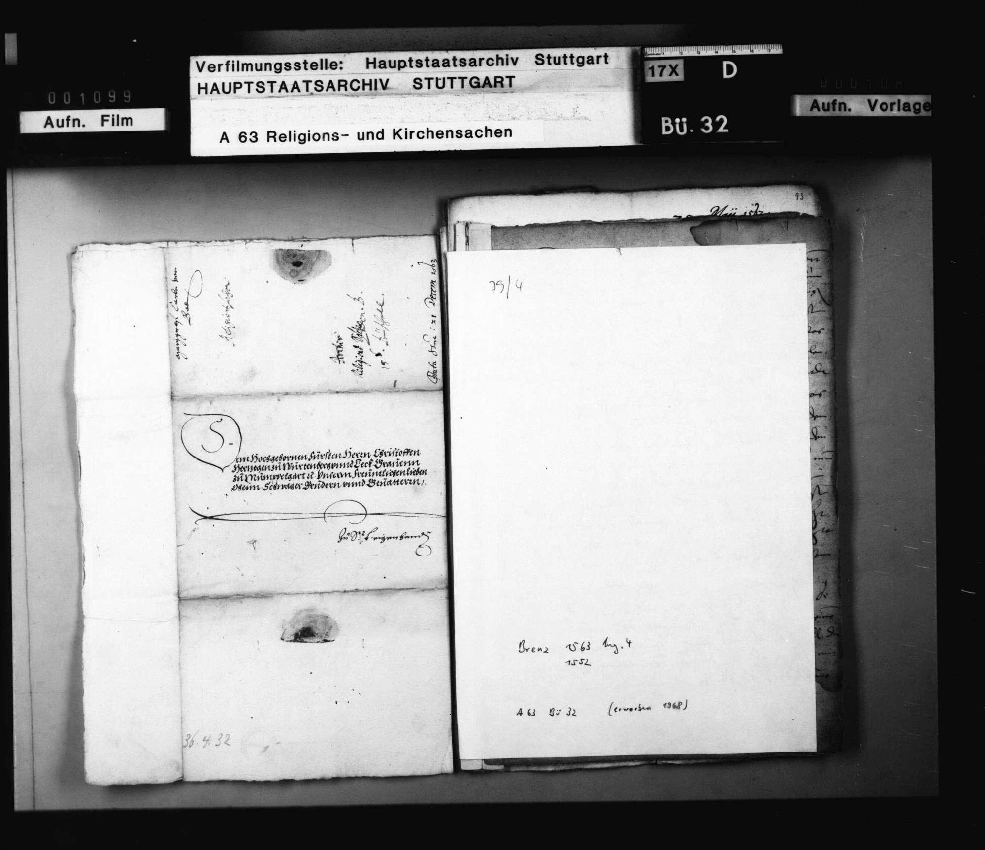 Schreiben des Markgrafen von Baden an Herzog Christoph, betreffend die Reformation des Nonnenklosters in Pforzheim., Bild 2