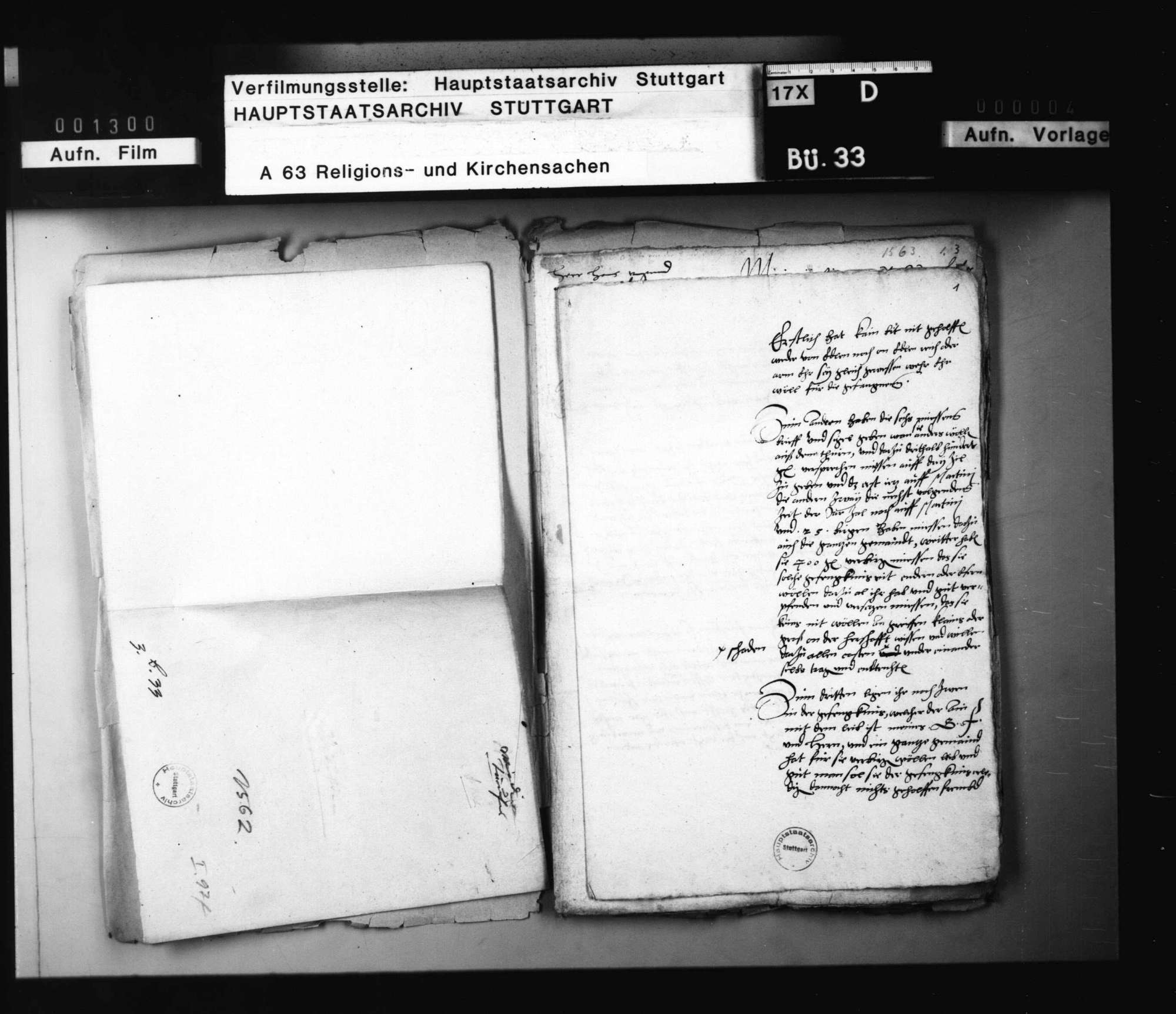 Reskripte Herzog Christophs an Jakob Andreä, ohne besondere Bedeutung und nach ihrem Inhalt auch in keinen der üblichen Faszikel einzureihen., Bild 1