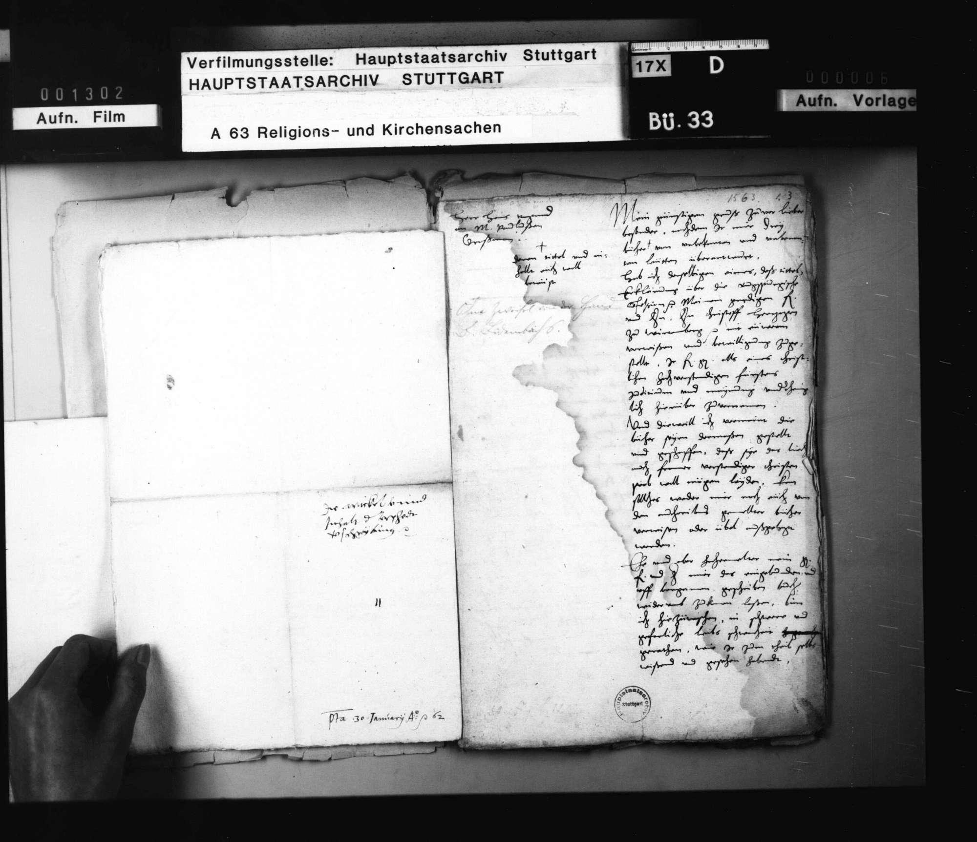 Reskripte Herzog Christophs an Jakob Andreä, ohne besondere Bedeutung und nach ihrem Inhalt auch in keinen der üblichen Faszikel einzureihen., Bild 3