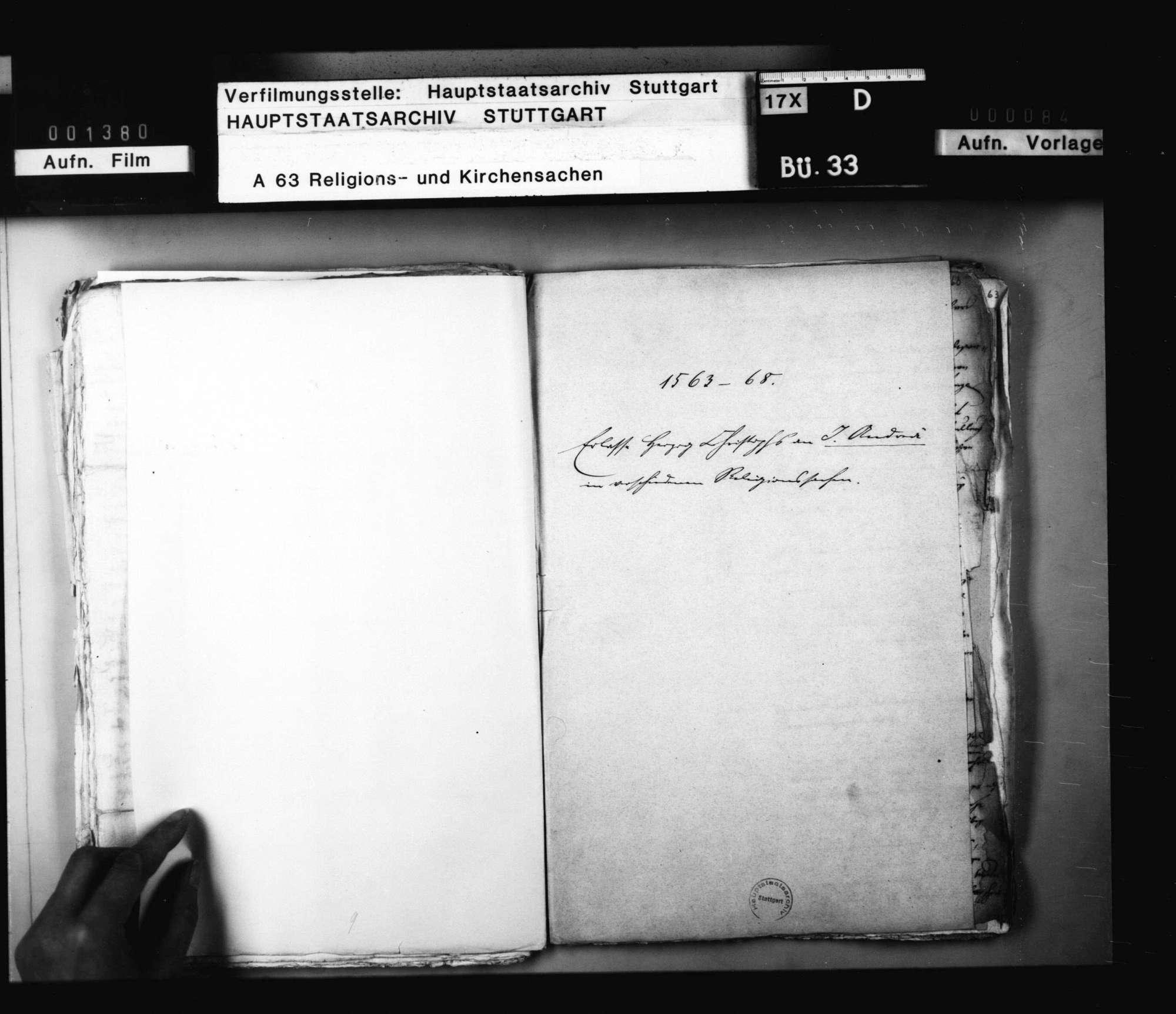 Missive Pfalzgraf Wolfgangs an Herzog Christoph mit Überschickung seiner Schreiben an die Pfalzgrafen Georg, Reichard und Ludwig wegen der Einführung des Calvinismus durch Kurfürst Friedrich., Bild 1