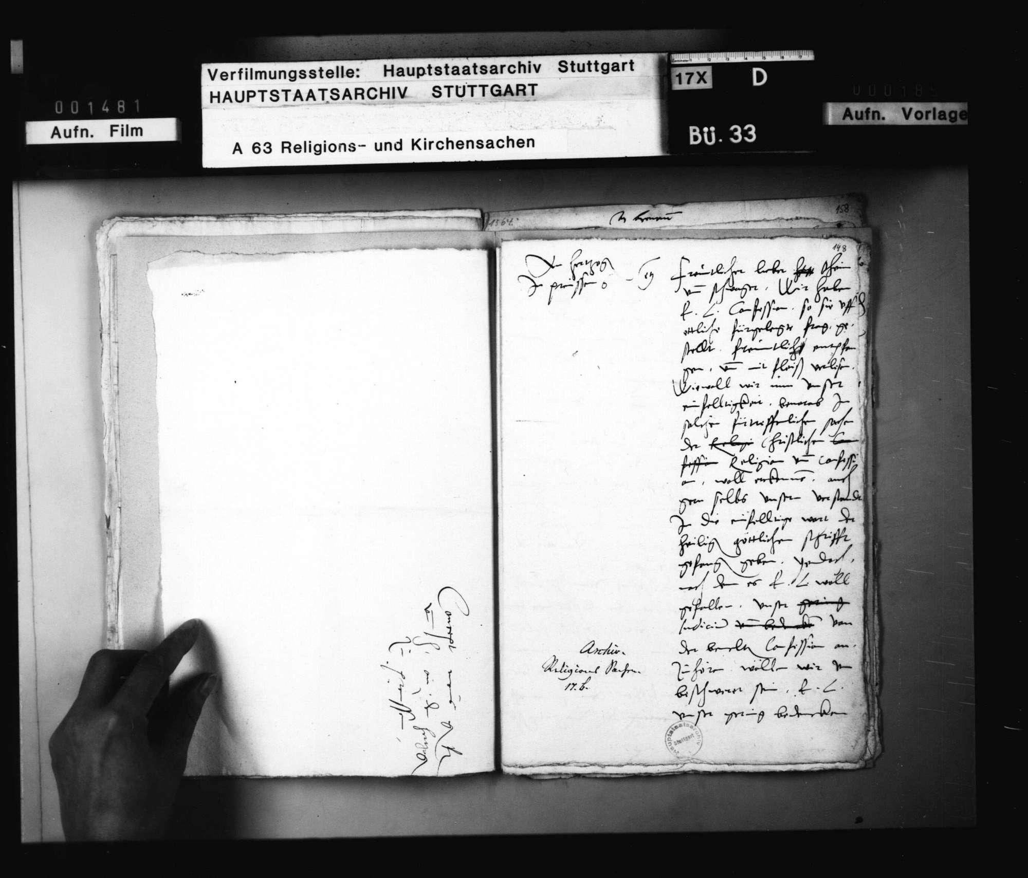 Schreiben Kaiser Maximilians an Herzog Christoph vom 31. Mai 1564, die Empfehlung des Kardinals Otto als Nachbar in Ellwangen betreffend; und vom 26. Juni, böswillige Gerüchte, die in Religionssachen gehen, betreffend. Original., Bild 2