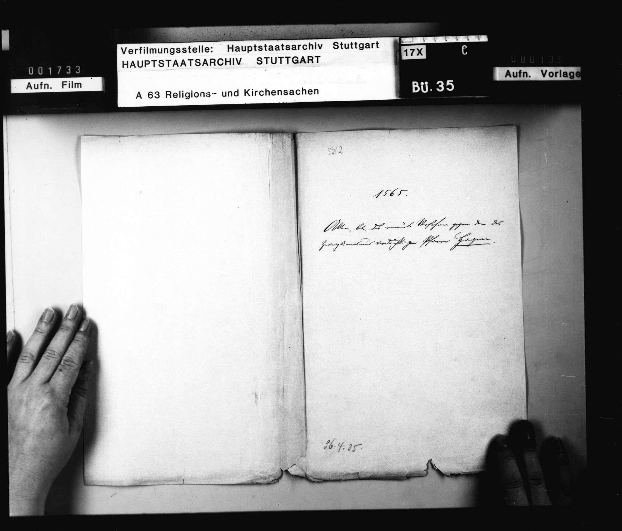 """Akten, betreffend das erneute Verfahren gegen den des """"Zwinglianimus"""" verdächtigen Pfarrer Hagen., Bild 1"""