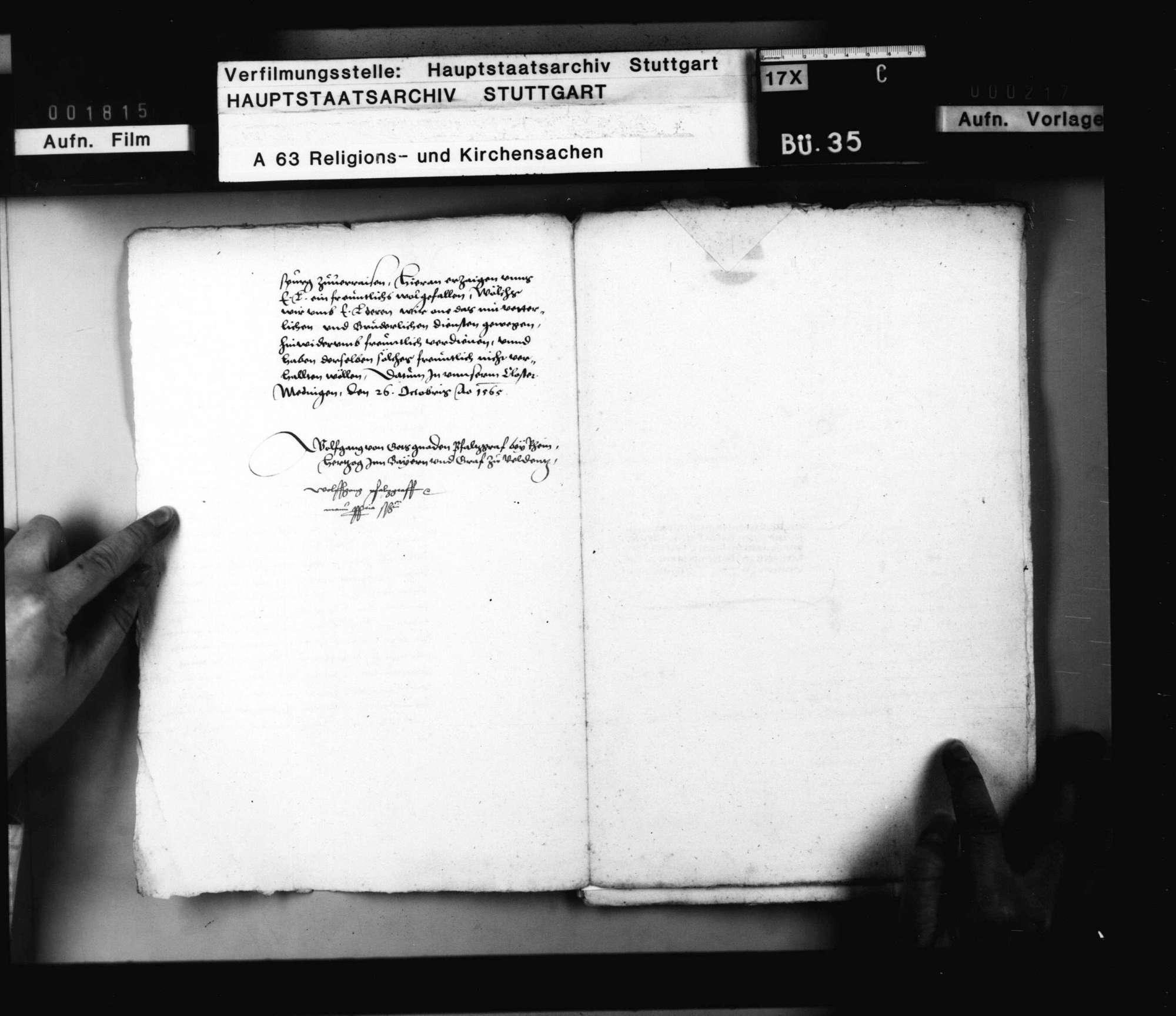 Schriften betreffend der protestierenden Stände Stellungnahme gegen Kurfürst Friedrich von der Pfalz auf dem Augsburger Reichstag von 1566., Bild 3