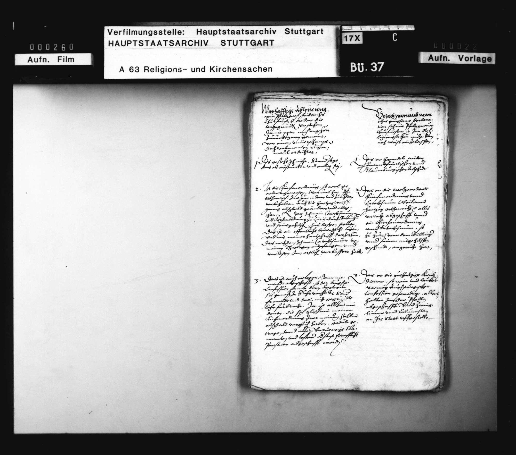 Schreiben von und an Pfalzgraf Johann Kasimir, Herzog Christoph und Pfalzgraf Wolfgang, warum sich mit dem Kurfürsten zu Pfalz in Religionssachen nicht einzulassen., Bild 2