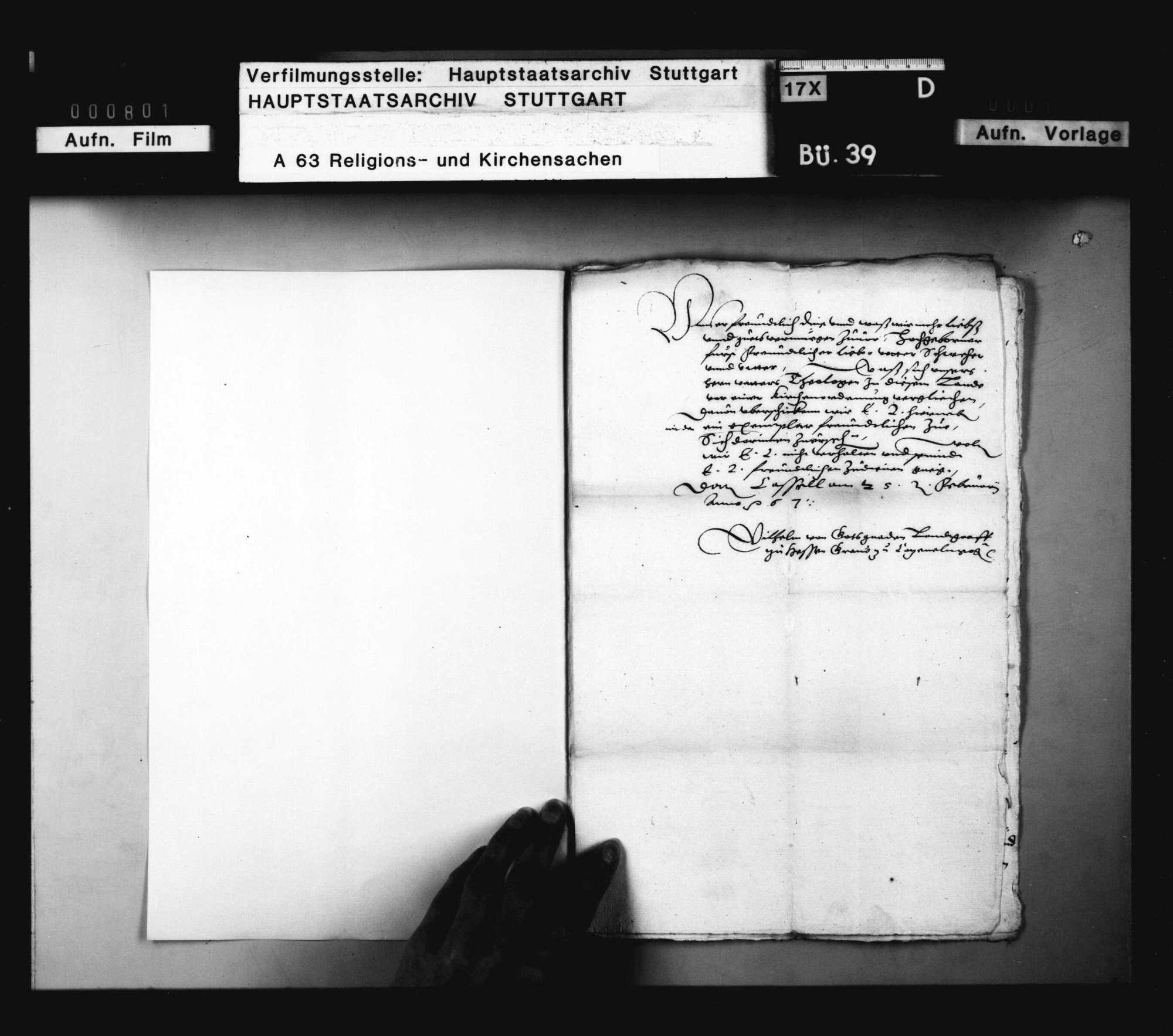 Landgraf Wilhelms von Hessen Missiv, womit er die hessische Kirchenordnung überschickt; dabei Bidembachs Bedenken., Bild 2