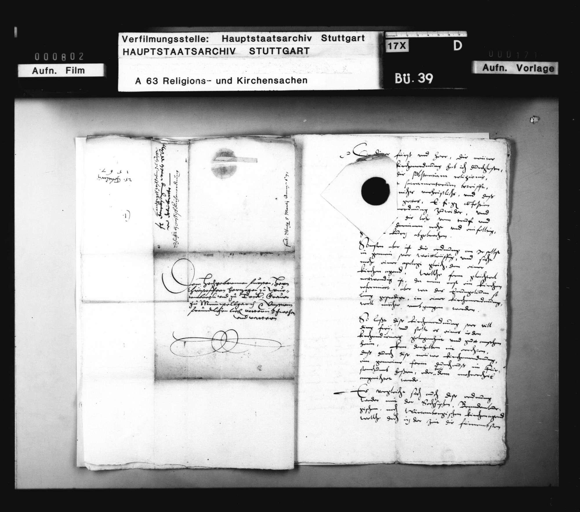 Landgraf Wilhelms von Hessen Missiv, womit er die hessische Kirchenordnung überschickt; dabei Bidembachs Bedenken., Bild 3
