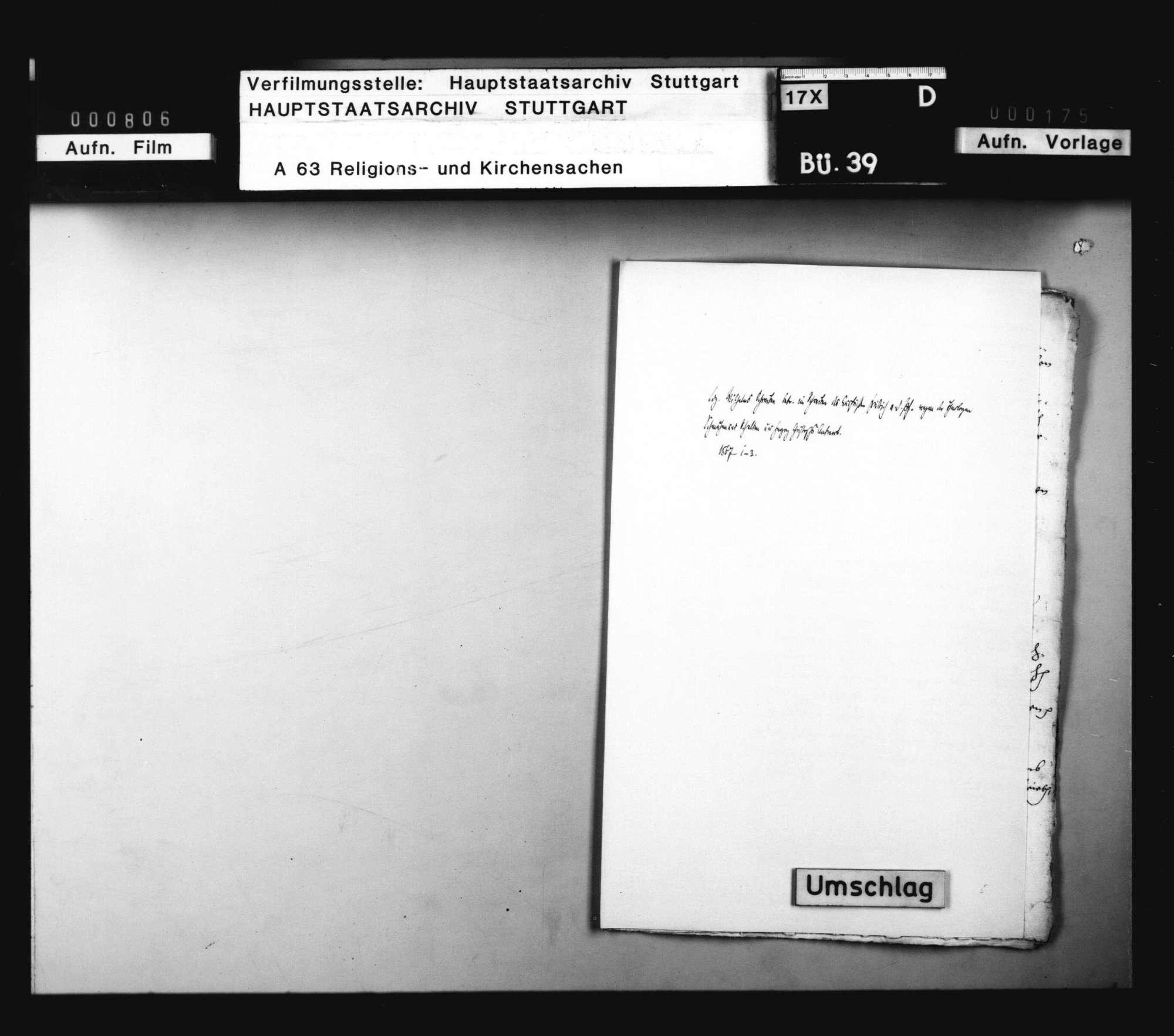 Landgraf Wilhelm schickt Herzog Christoph ein Schreiben von Kurfürst Friedrich zu Pfalz, worin derselbe über der Theologen Schmähen und Schelten, besonders wider Gallus und Heßhusius, sich beklagt, und wie er solches Schreiben beantwortet habe., Bild 1