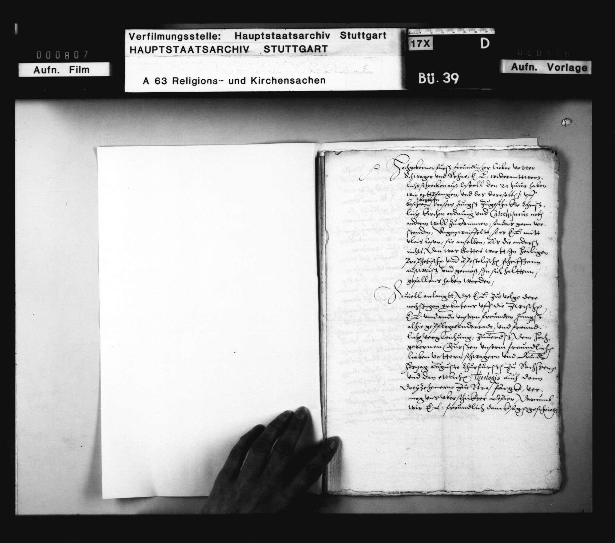 Landgraf Wilhelm schickt Herzog Christoph ein Schreiben von Kurfürst Friedrich zu Pfalz, worin derselbe über der Theologen Schmähen und Schelten, besonders wider Gallus und Heßhusius, sich beklagt, und wie er solches Schreiben beantwortet habe., Bild 2