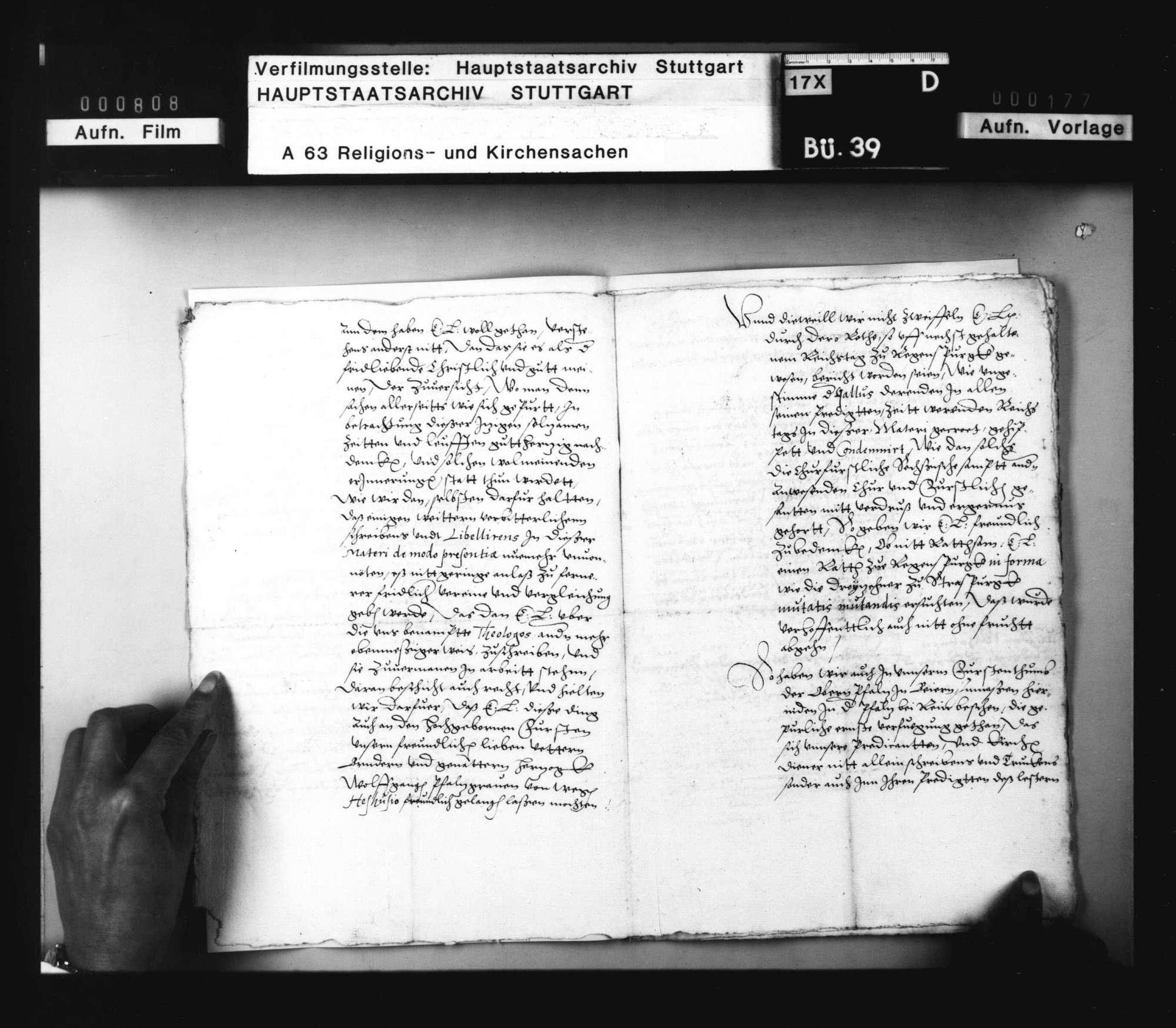 Landgraf Wilhelm schickt Herzog Christoph ein Schreiben von Kurfürst Friedrich zu Pfalz, worin derselbe über der Theologen Schmähen und Schelten, besonders wider Gallus und Heßhusius, sich beklagt, und wie er solches Schreiben beantwortet habe., Bild 3