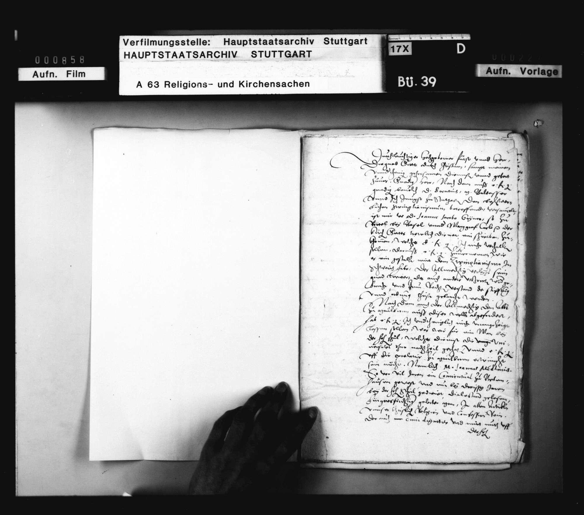 Schreiben Jakob Andreäs an Herzog Christoph, was Grynäus an ihn wegen des Zwinglianismus in der Schweiz geschrieben., Bild 2