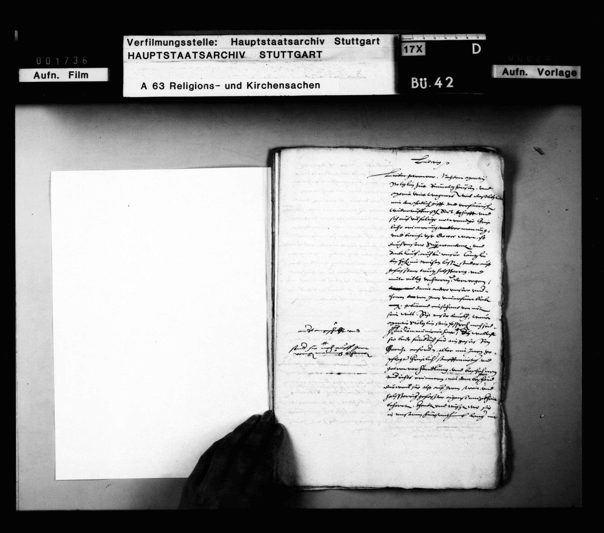 Schriften, betreffend das Vorgehen gegen Wiedertäufer im Cannstatter Amt., Bild 1