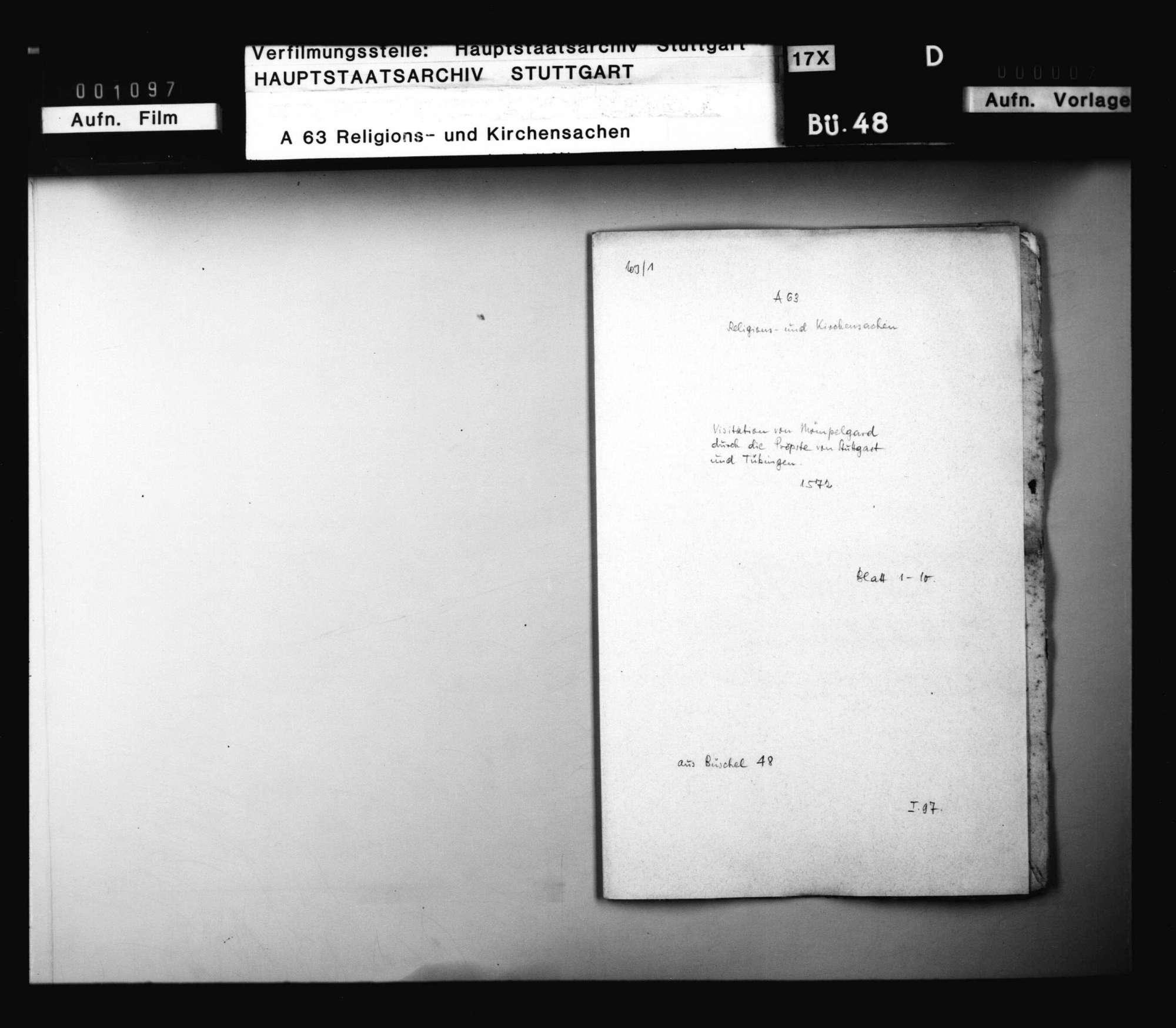 Visitation von Mömpelgard durch die Pröpste von Stuttgart und Tübingen., Bild 1