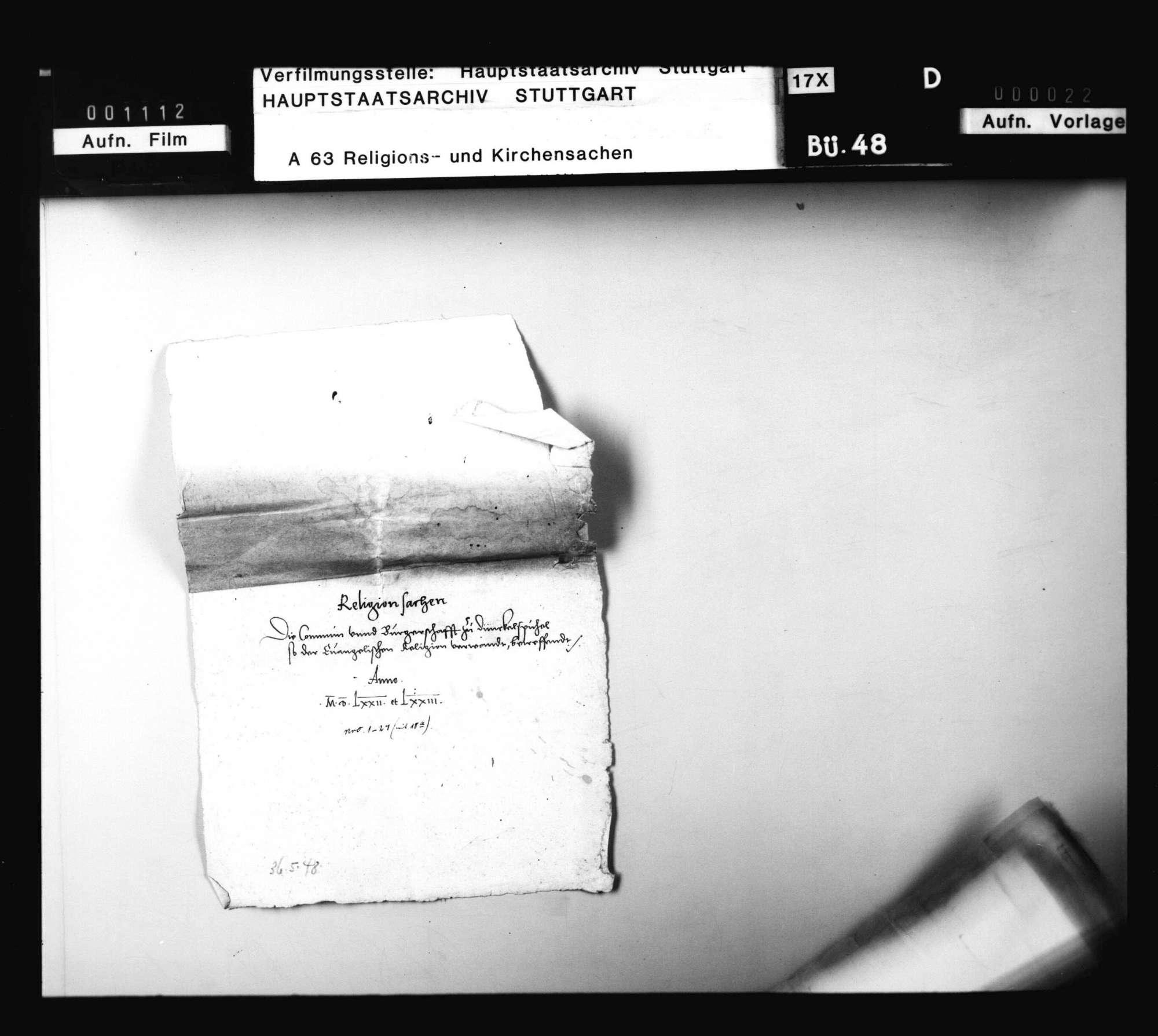 Schriften, betreffend die Verwendung Herzog Ludwigs für die Evangelischen in der Stadt Dinkelsbühl., Bild 1
