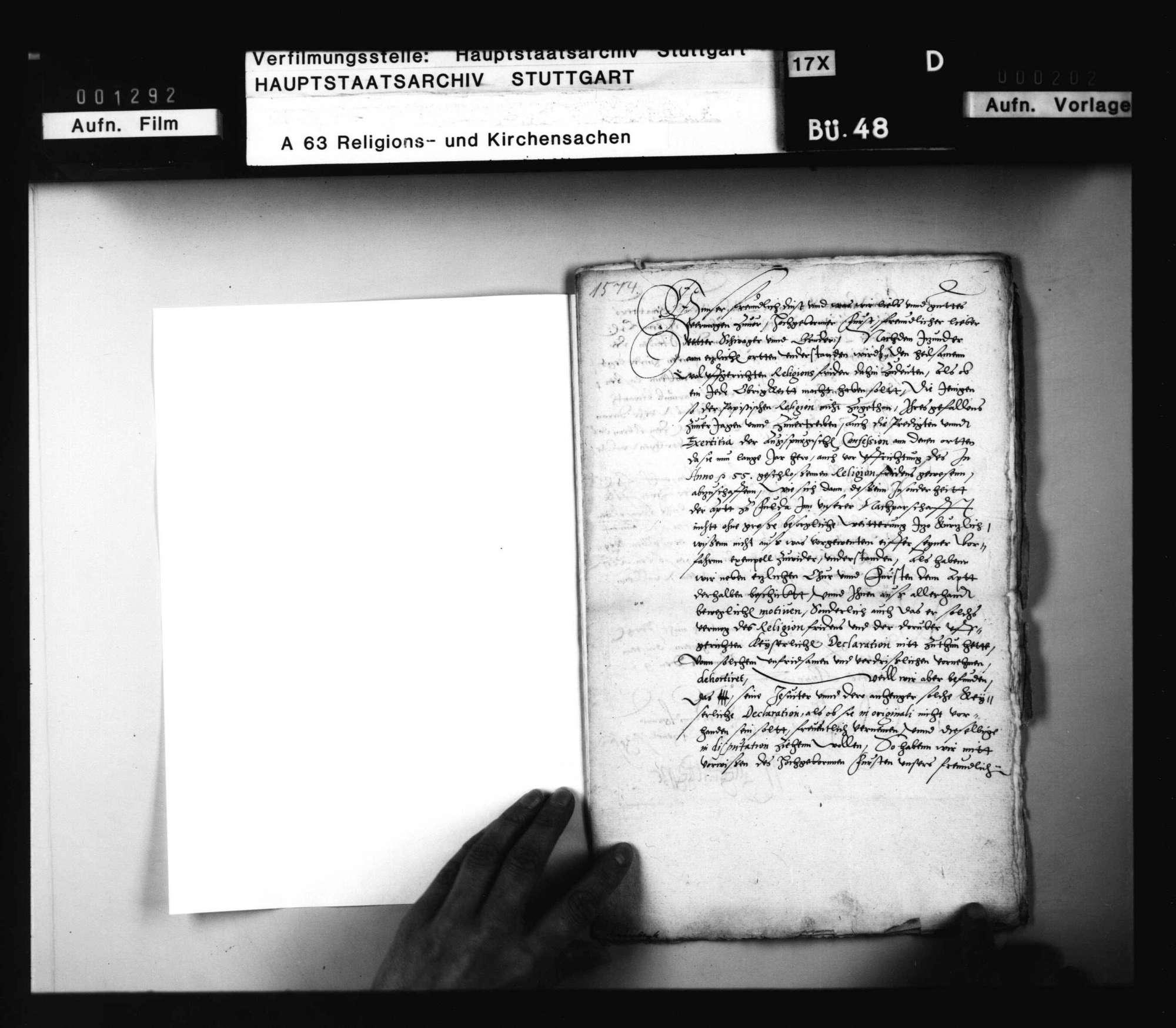 Schreiben Landgraf Wilhelms an Herzog Ludwig, betreffend die Auslegung des Augsburger Religionsfriedens, nebst Antwort., Bild 1
